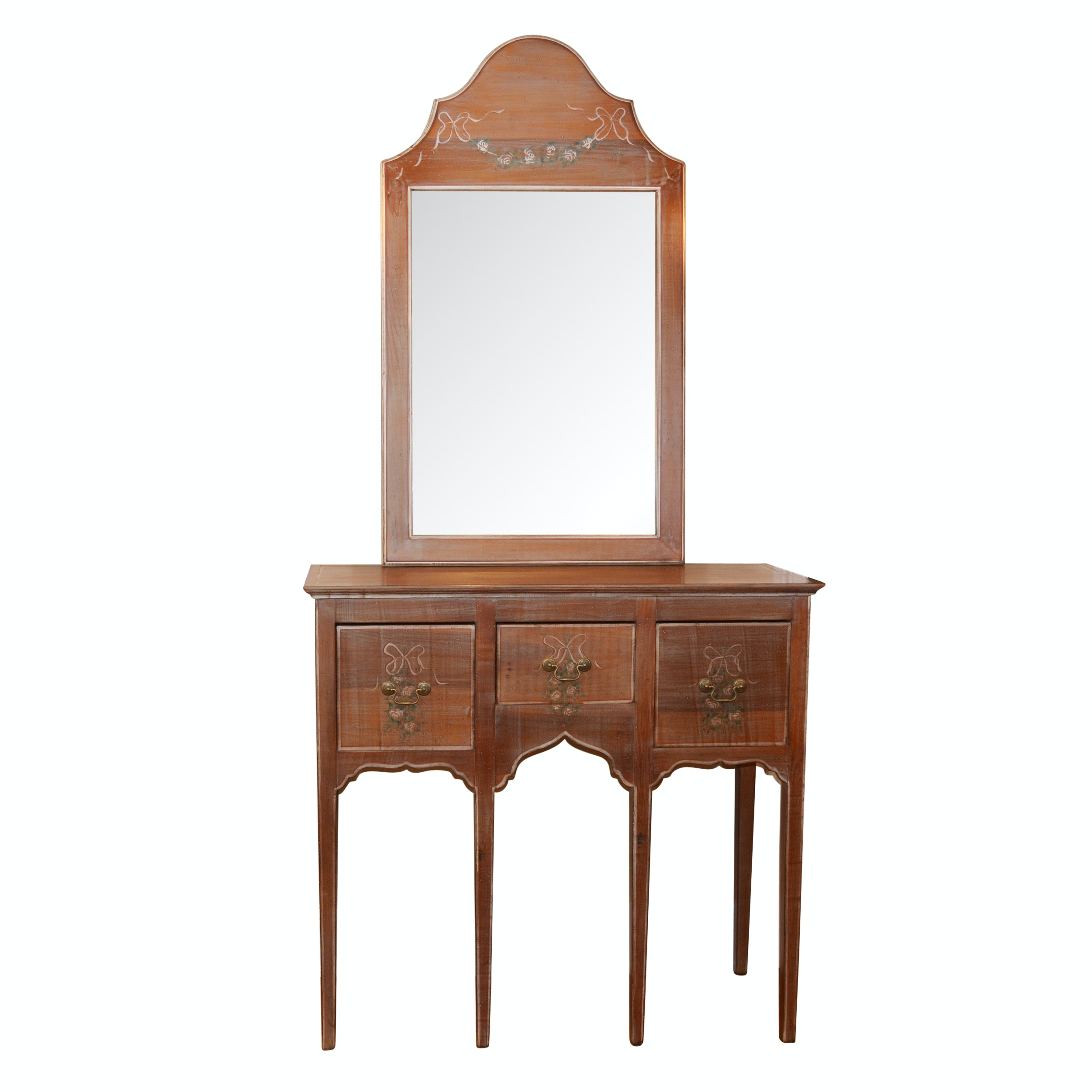 Hand-Painted Huntboard Console Table With Mirror