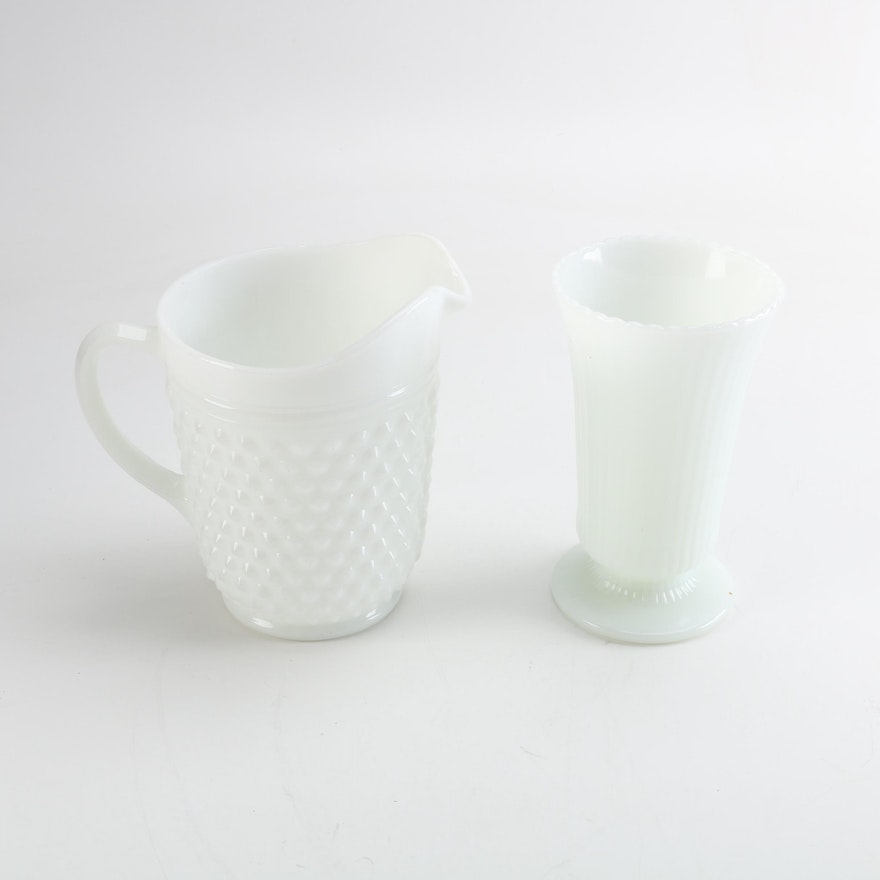 Eo Brody Co Milk Glass Flower Vase With Hobnail Pitcher Ebth