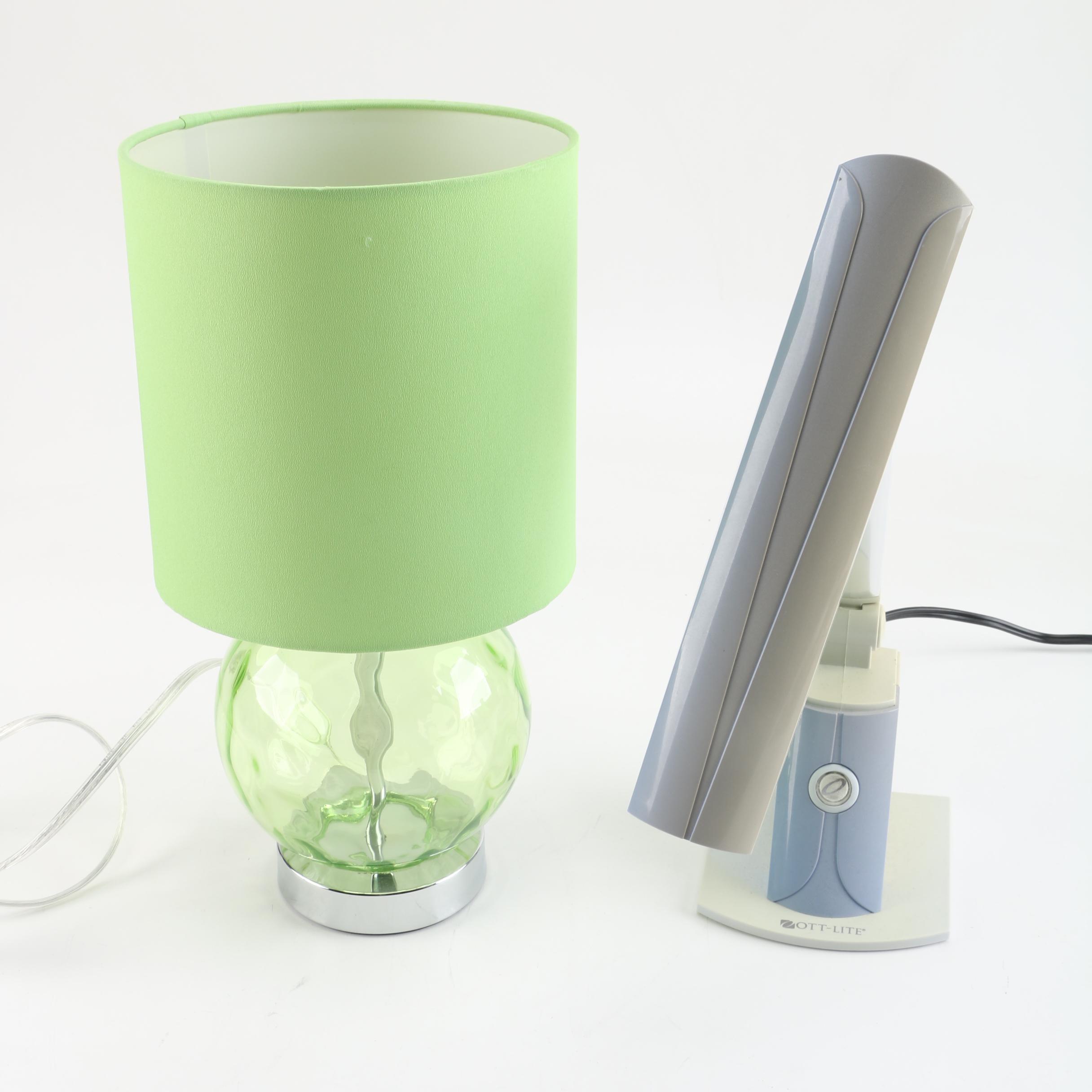 OttLite Task Lamp And Green Glass Table Lamp ...