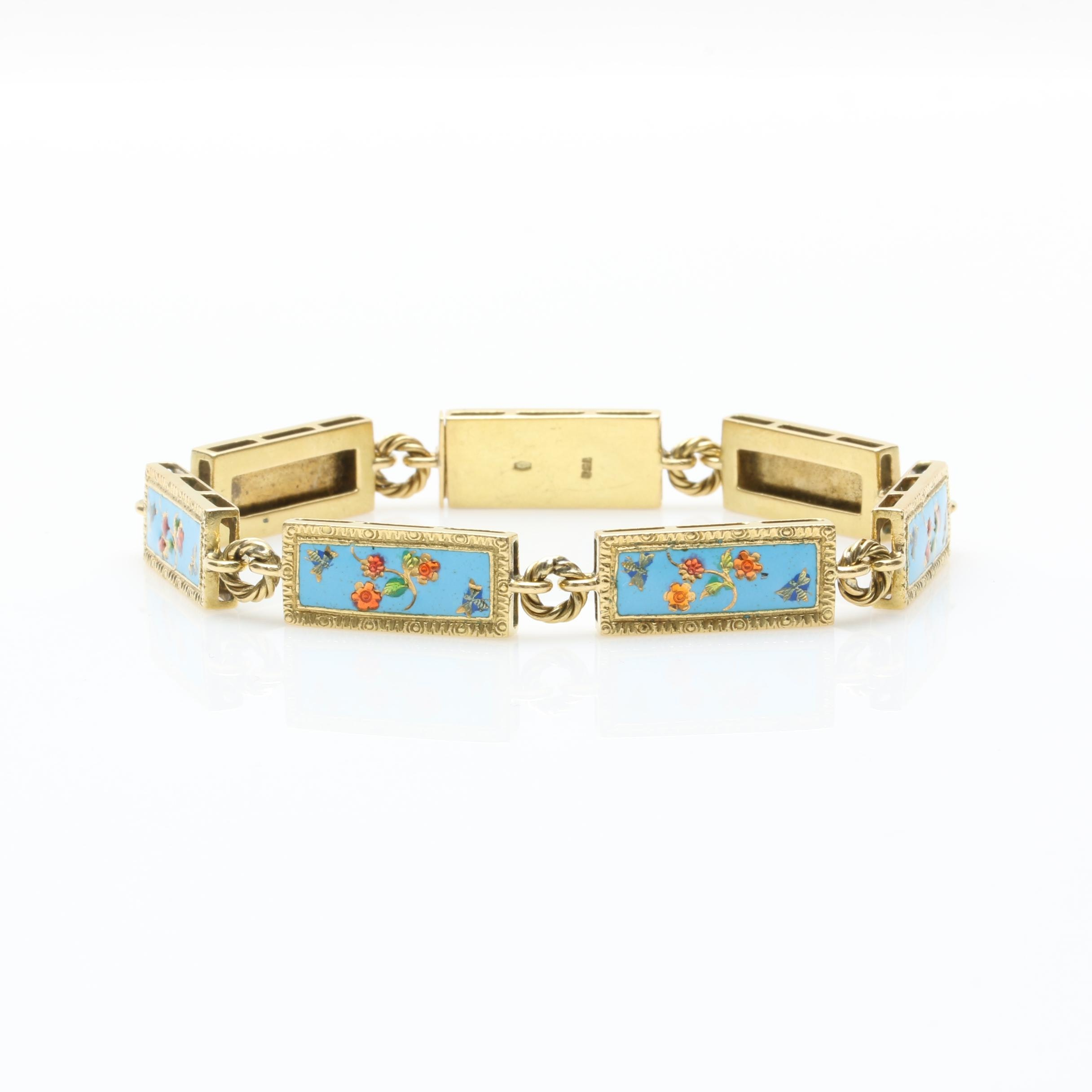 18K Yellow Gold Enamel Link Bracelet