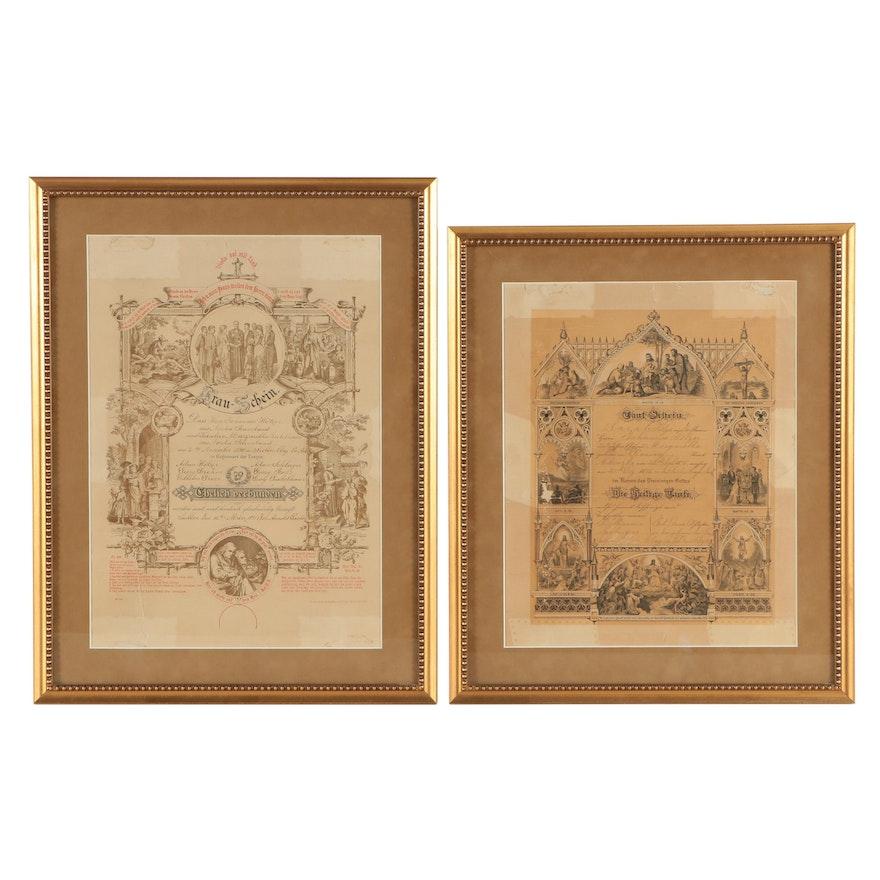antique german language nebraska marriage certificate and baptism