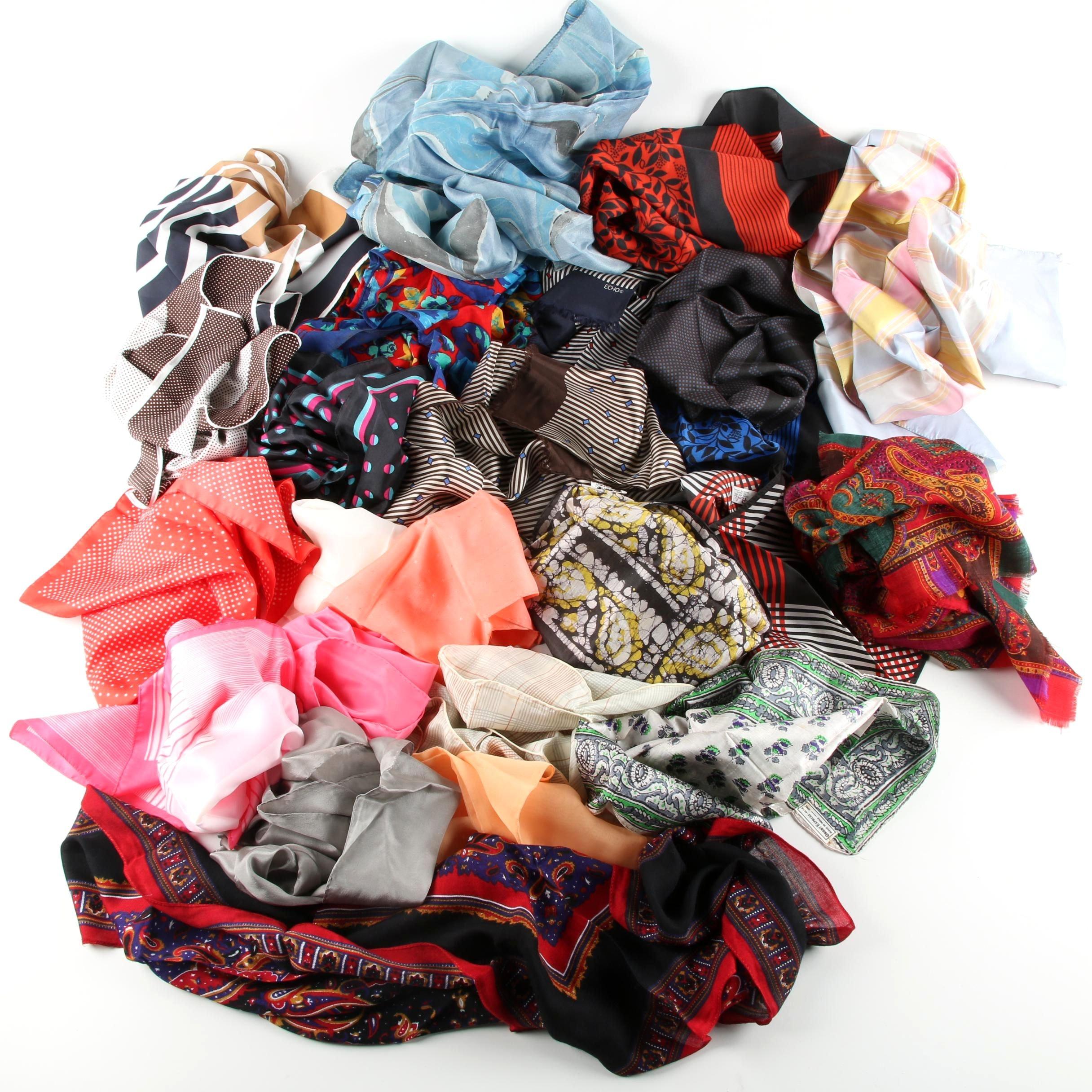 Vintage Scarves and Pocket Squares Including Vera Neumann