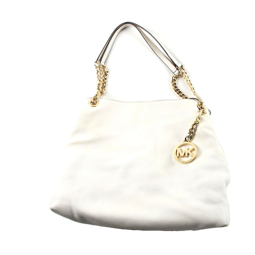 180723cf673f MICHAEL Michael Kors White Pebbled Leather Hobo Bag : EBTH