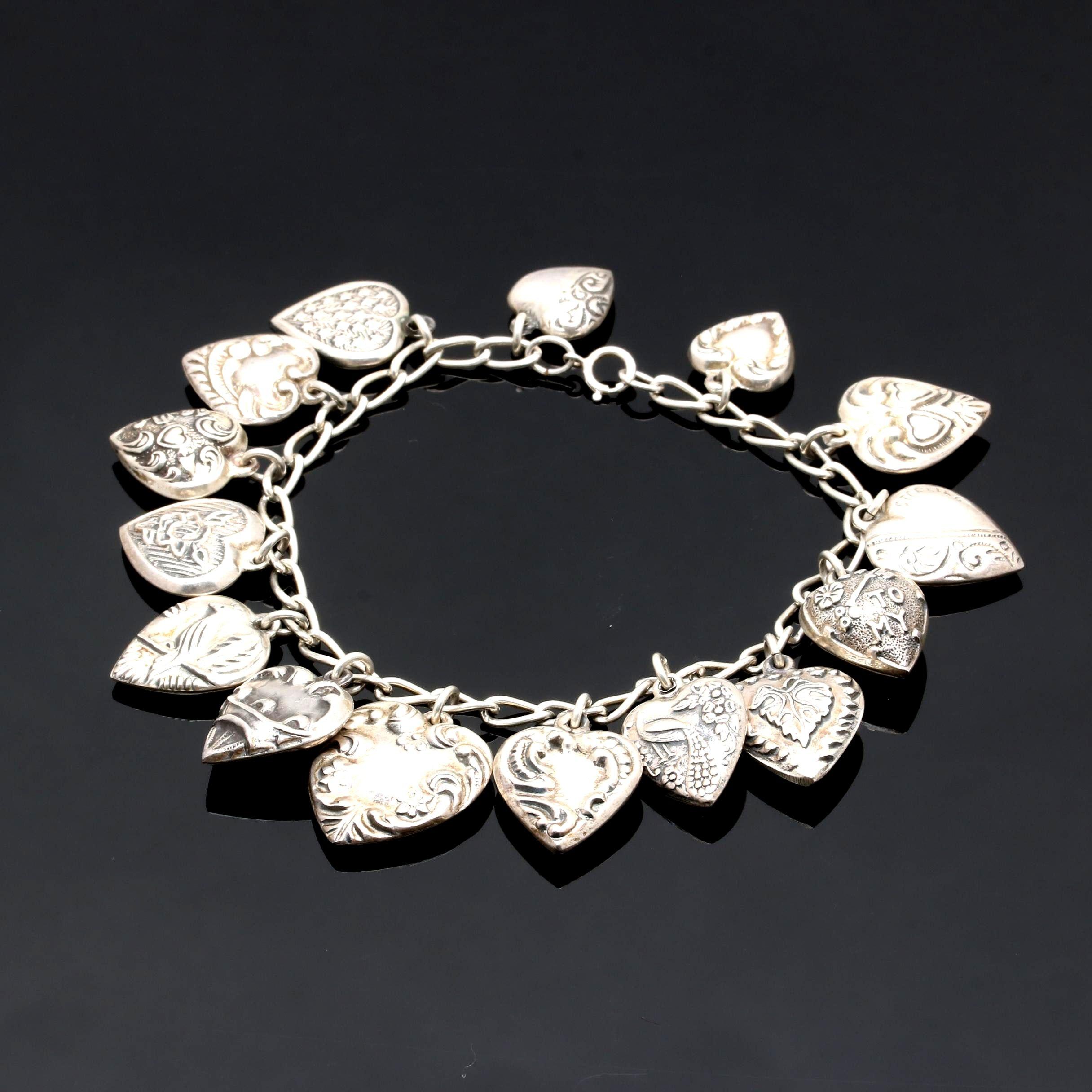 Sterling Silver Puff Heart Charm Bracelet