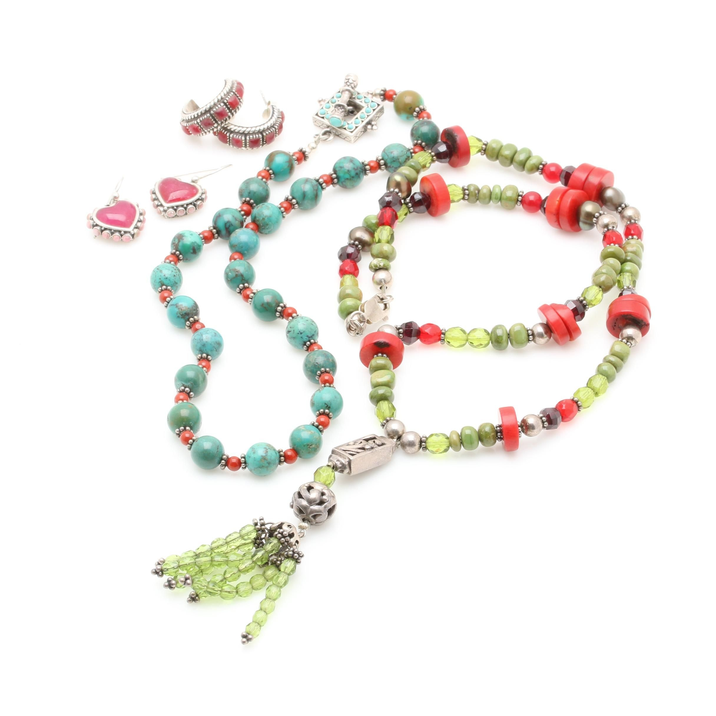 Sterling Silver Necklaces and Earrings Including Coral, Turquoise, and Barse