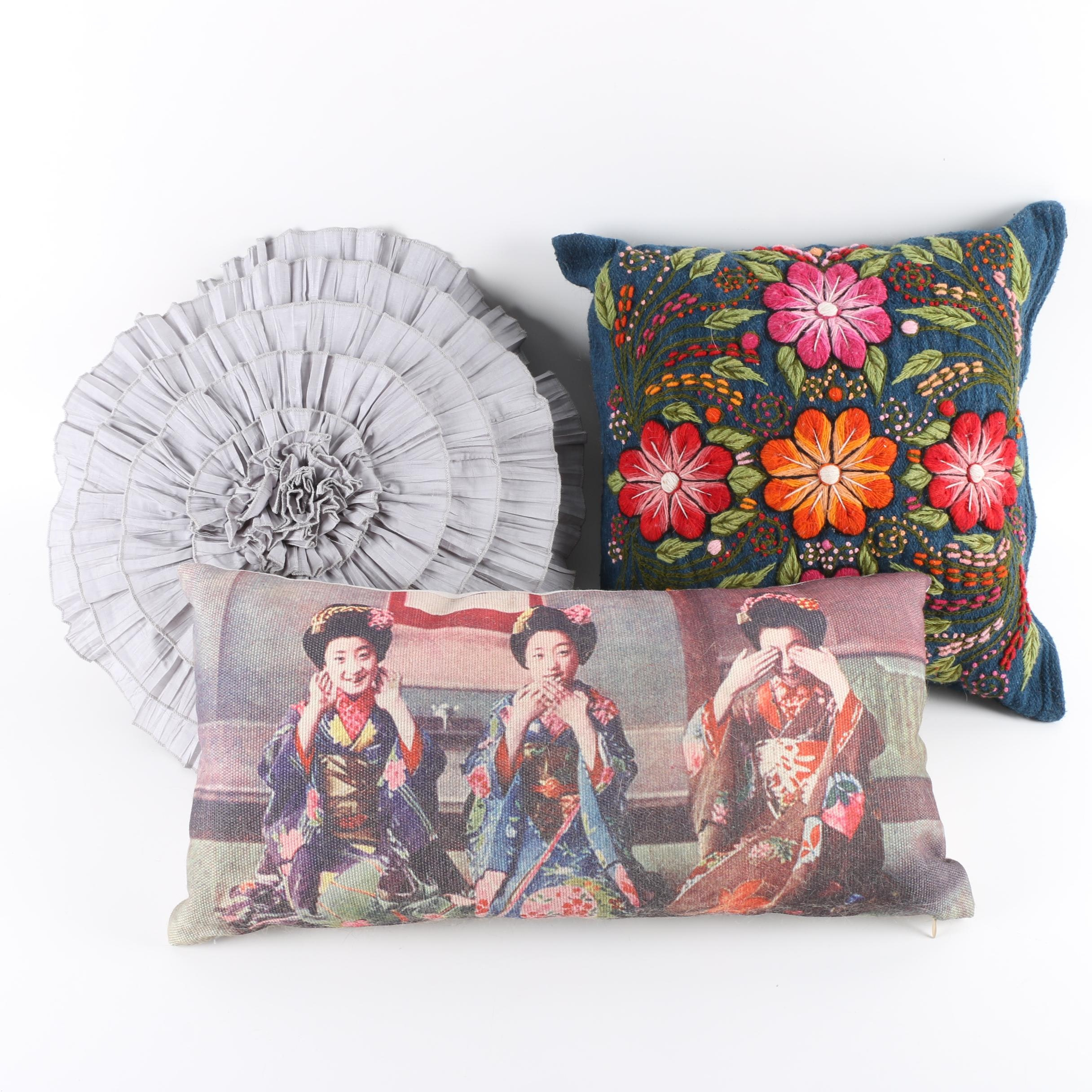 Floral, Contemporary and Needlepoint Accent Pillows