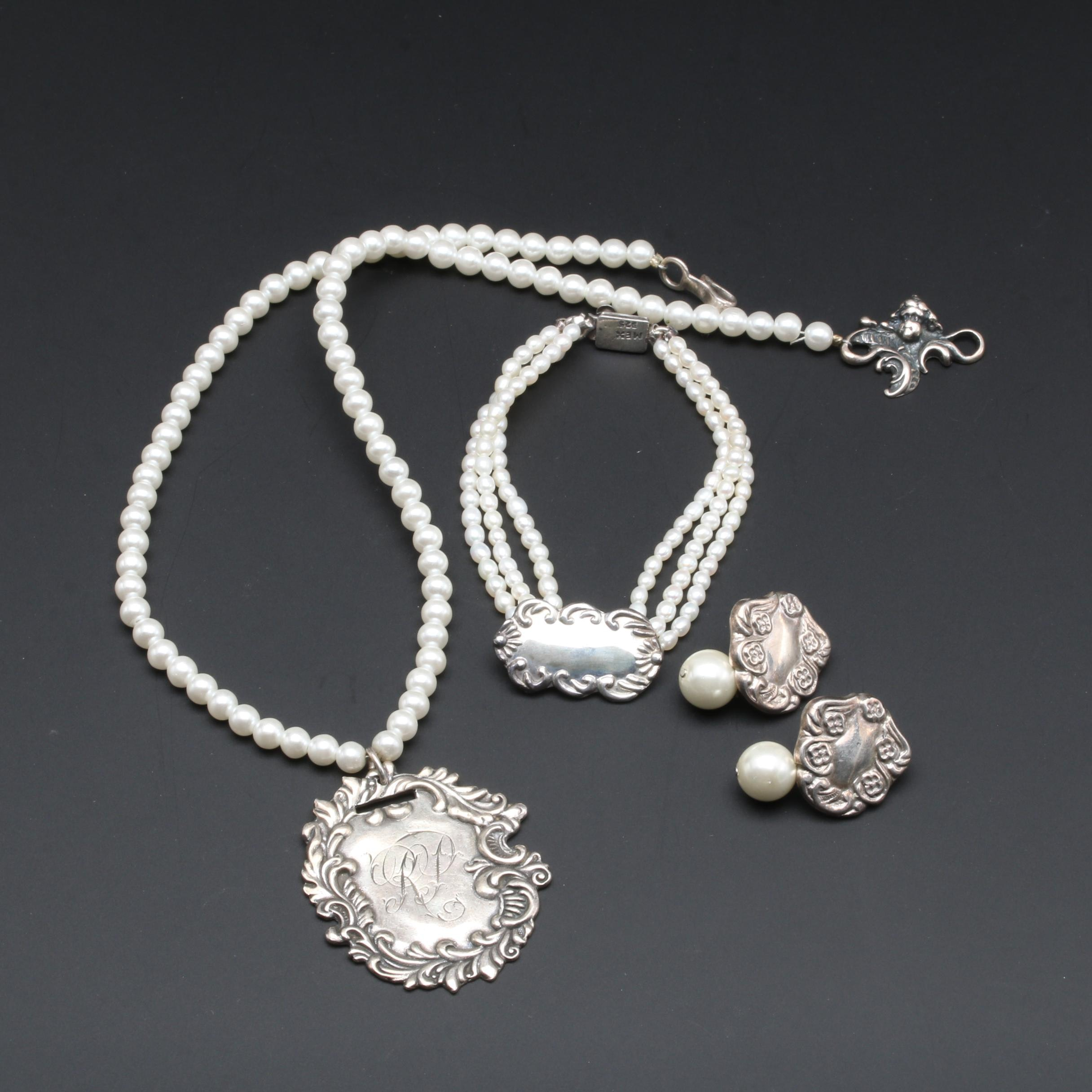 T. Foree Hunsicker Sterling Silver Pearl Necklace and More