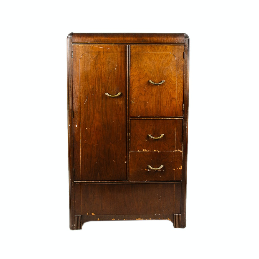 vintage art deco waterfall armoire ebth. Black Bedroom Furniture Sets. Home Design Ideas
