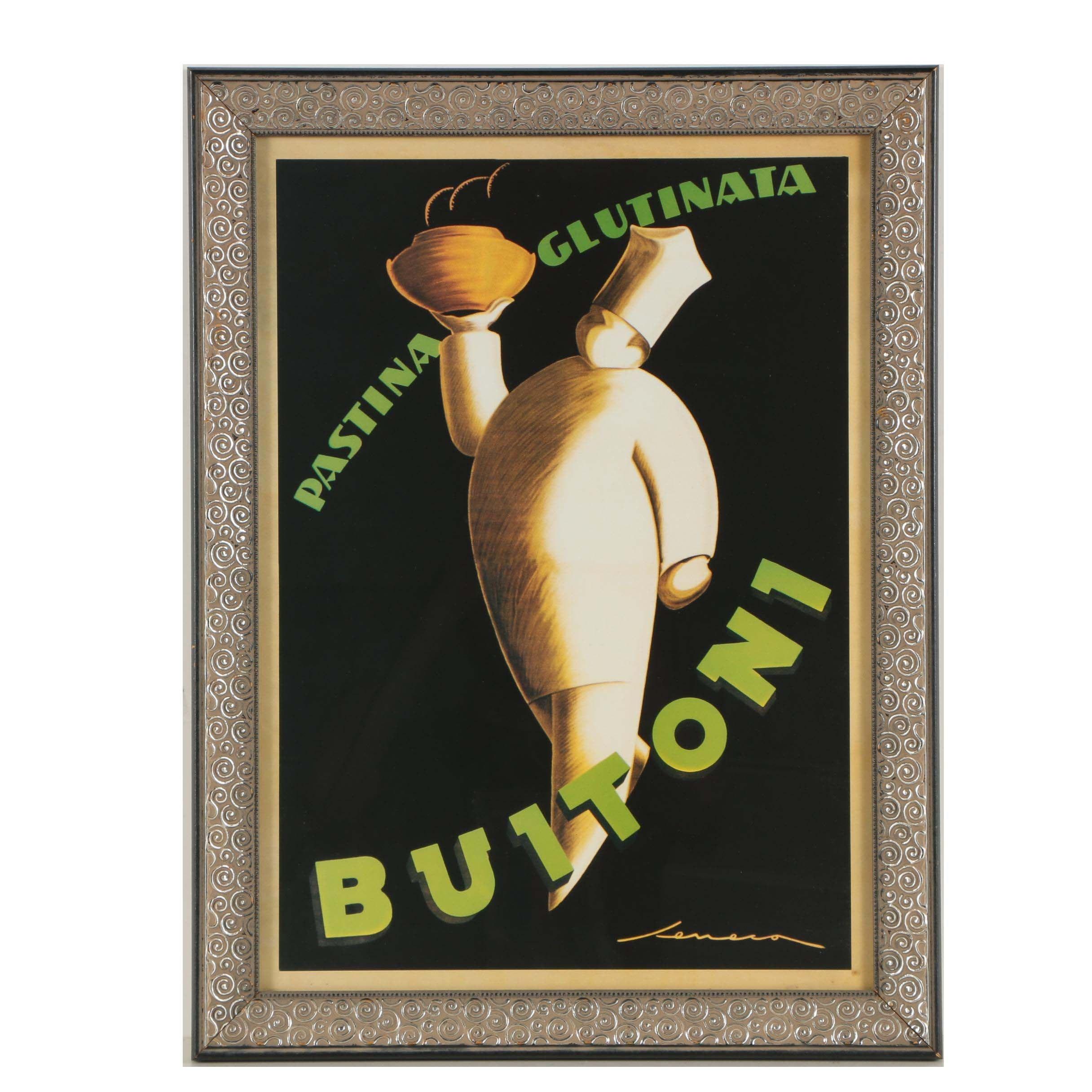 """Offset Lithograph After Seneca Art Deco Poster for """"Pastina Glutinata Buitoni"""""""