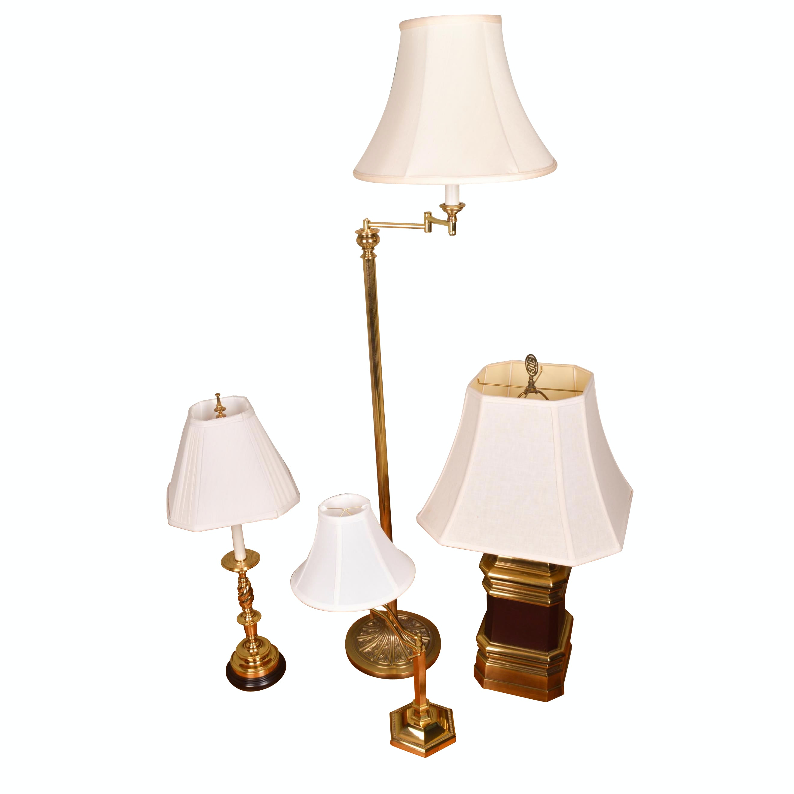 Four Brass Lamps Including Floor Lamp ...