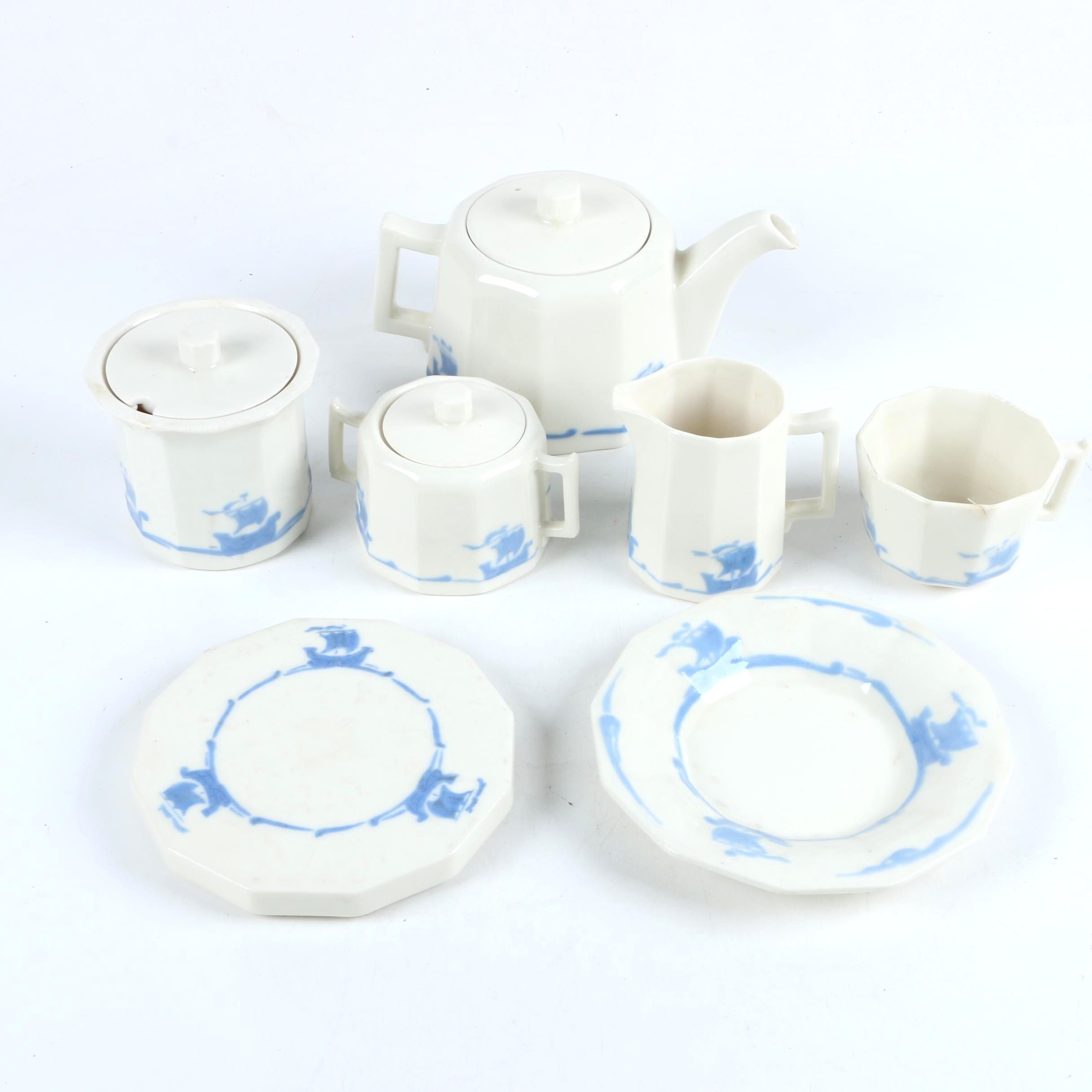 Rookwood Pottery Sailboat Themed Tea Set, Circa 1920