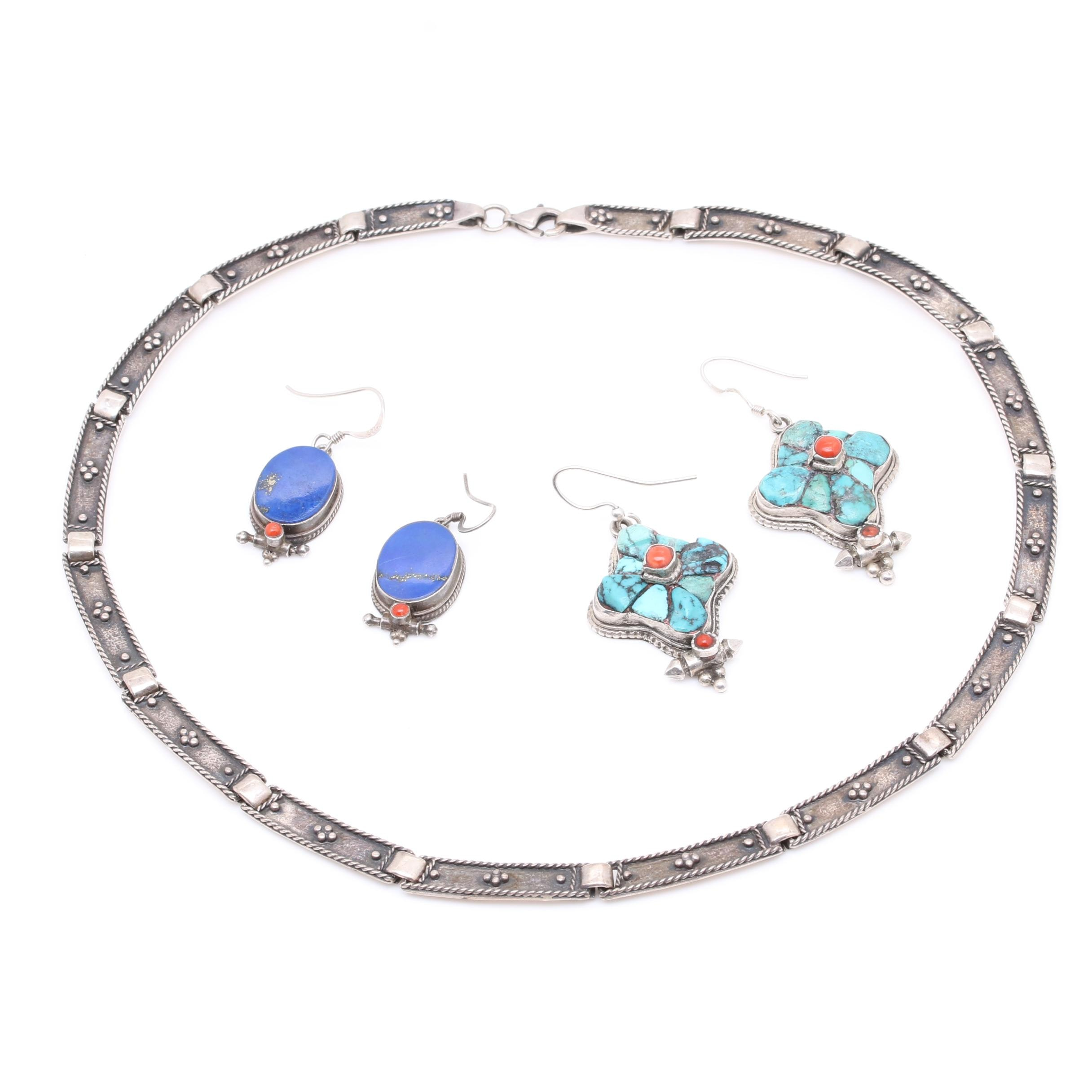 Sterling Silver Lapis Lazuli, Turquoise and Coral Earrings and Necklace