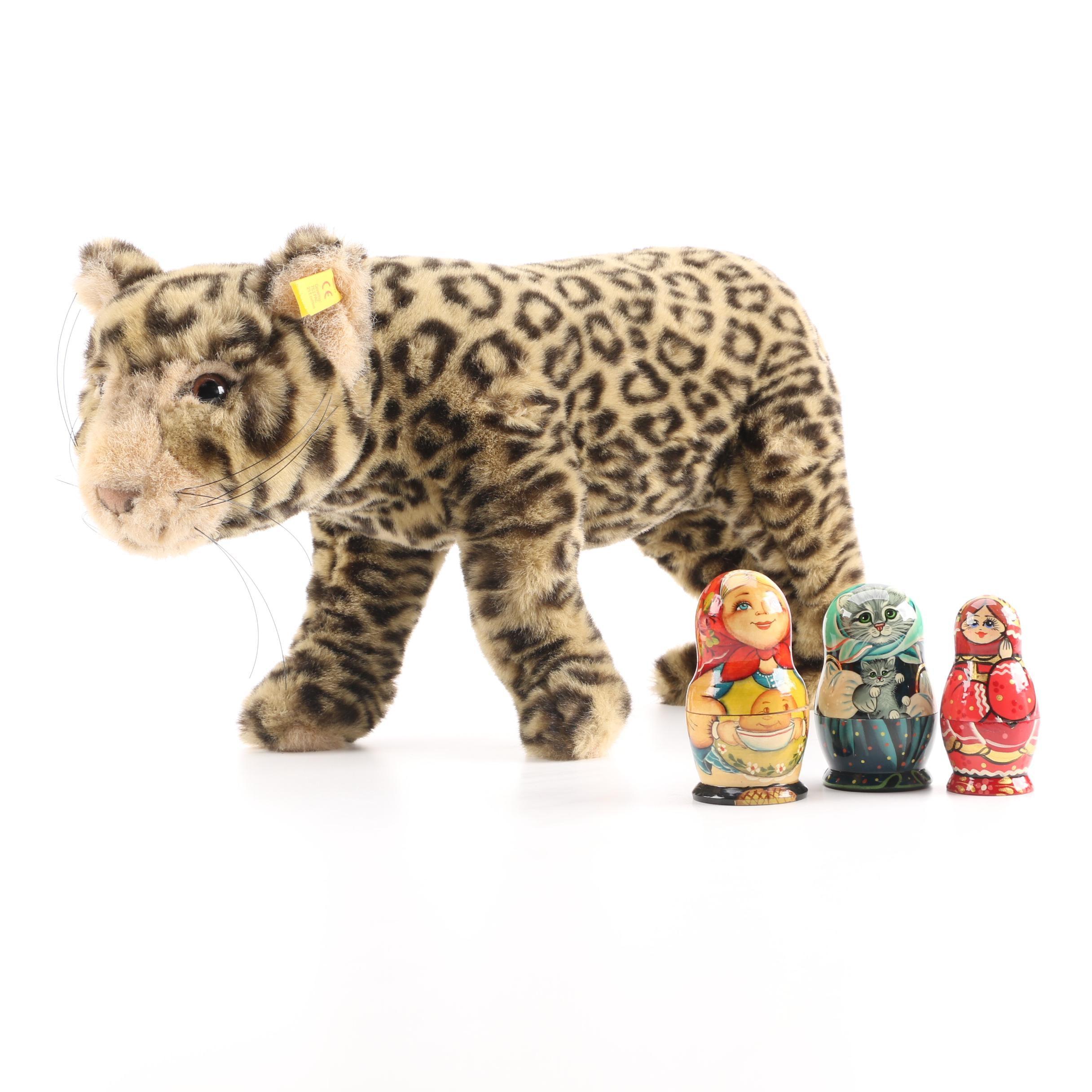 Steiff Leopard and Matryoshka Nesting Dolls