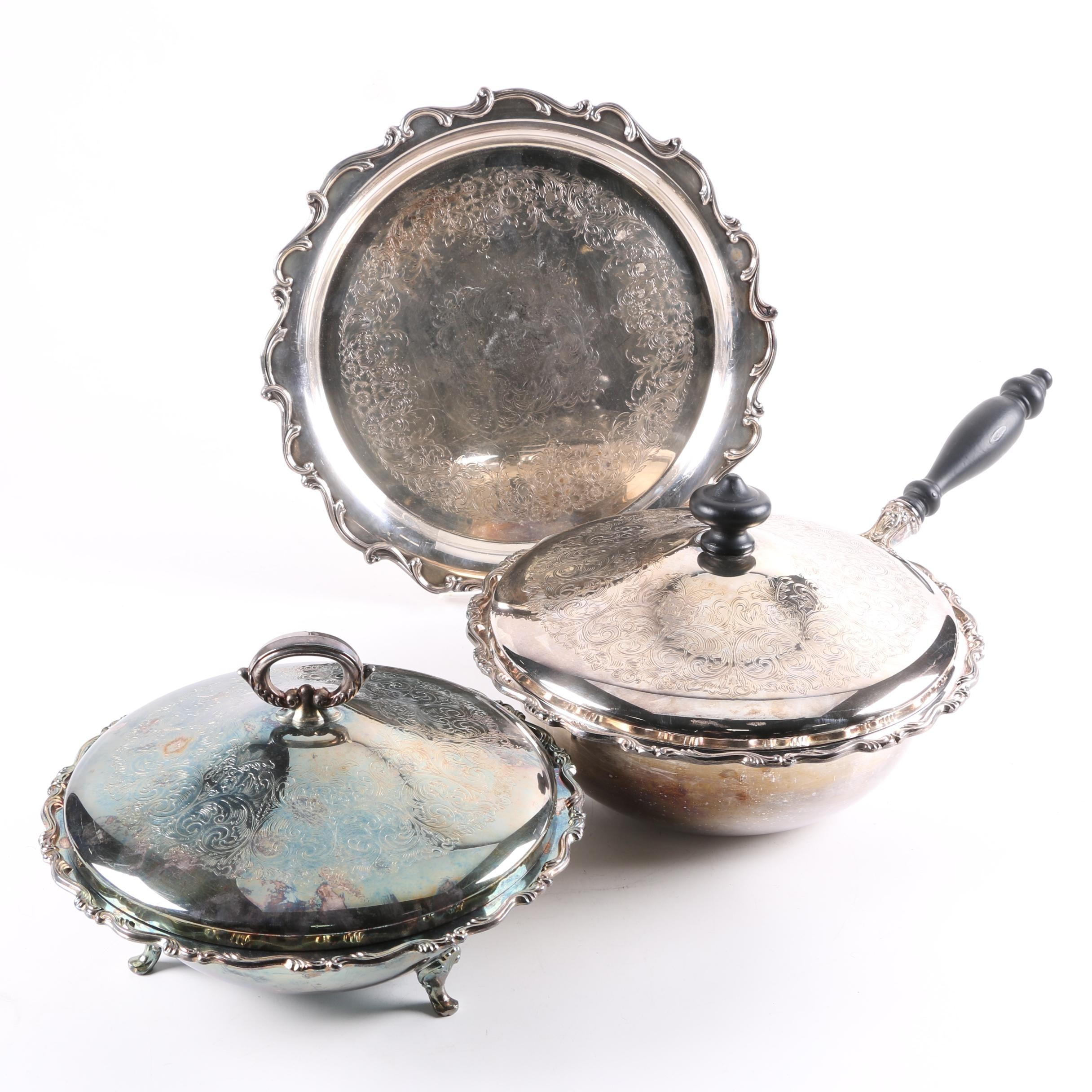 Silver Plate Platter, Chafing Dish, and Lidded Bowl