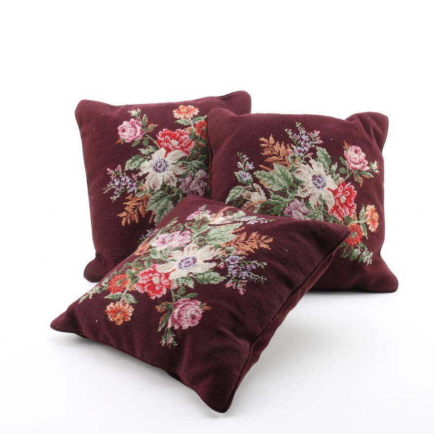 Burgundy And Floral Throw Pillows EBTH Fascinating Riverdale Decorative Pillows