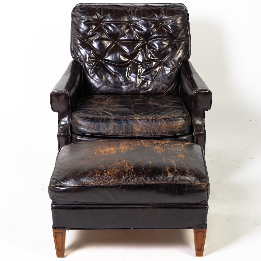 Super Vintage Leather Armchair And Ottoman By Hickory Chair Company Evergreenethics Interior Chair Design Evergreenethicsorg
