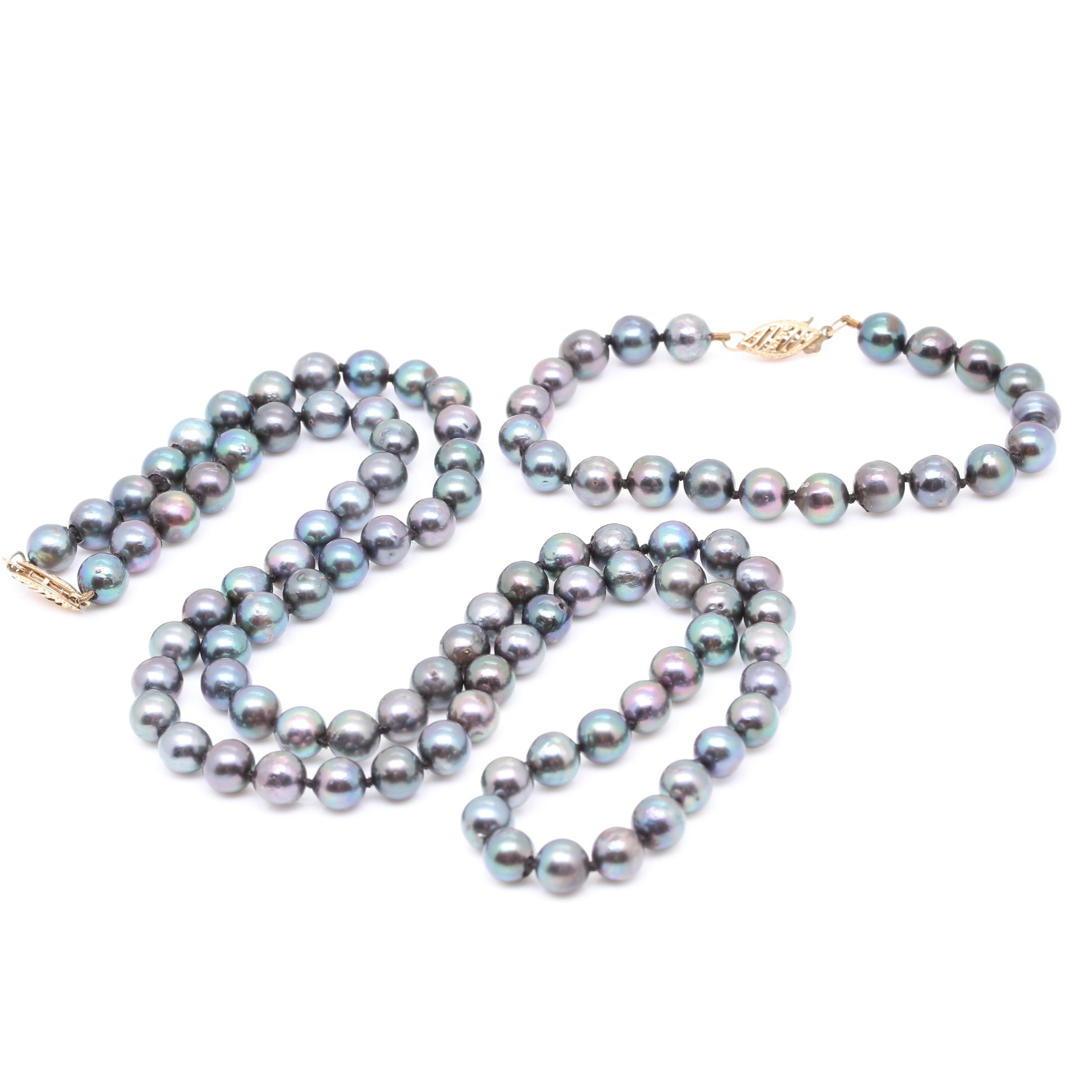 9K Yellow Gold Cultured Pearl Necklace and Bracelet Set