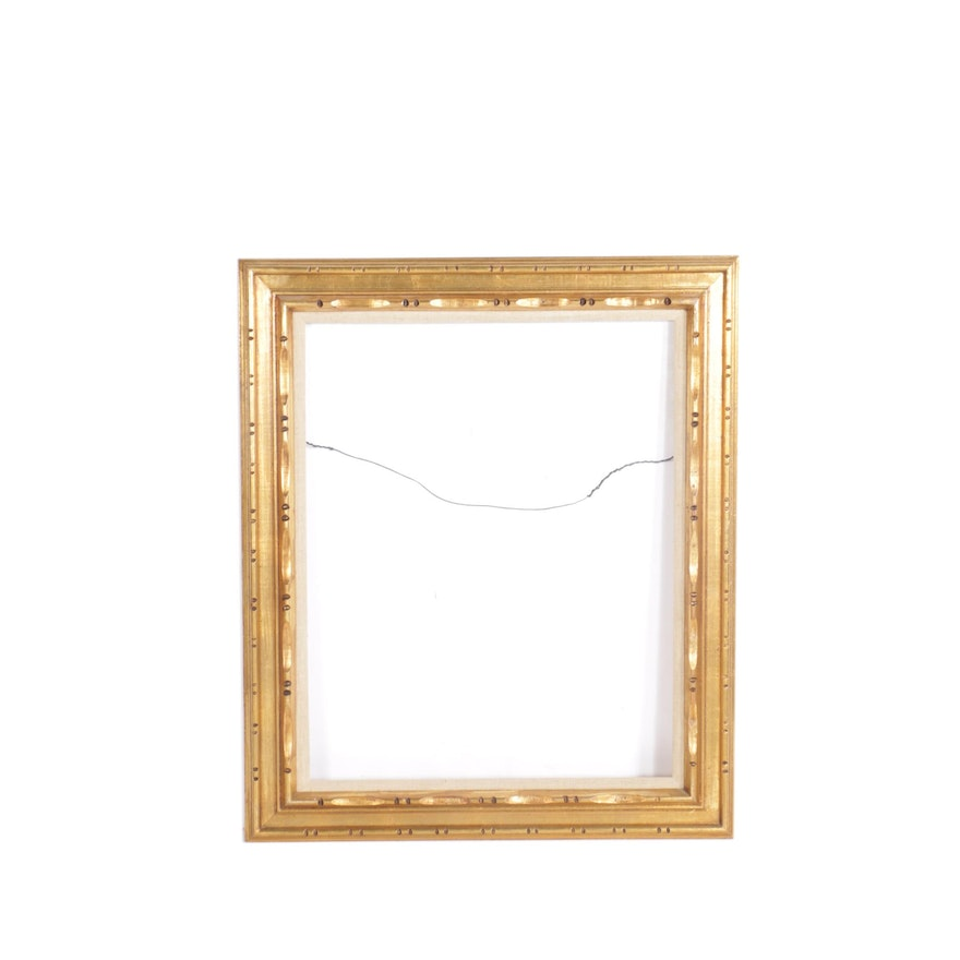 Gold Tone Picture Frame With Linen Mat Ebth