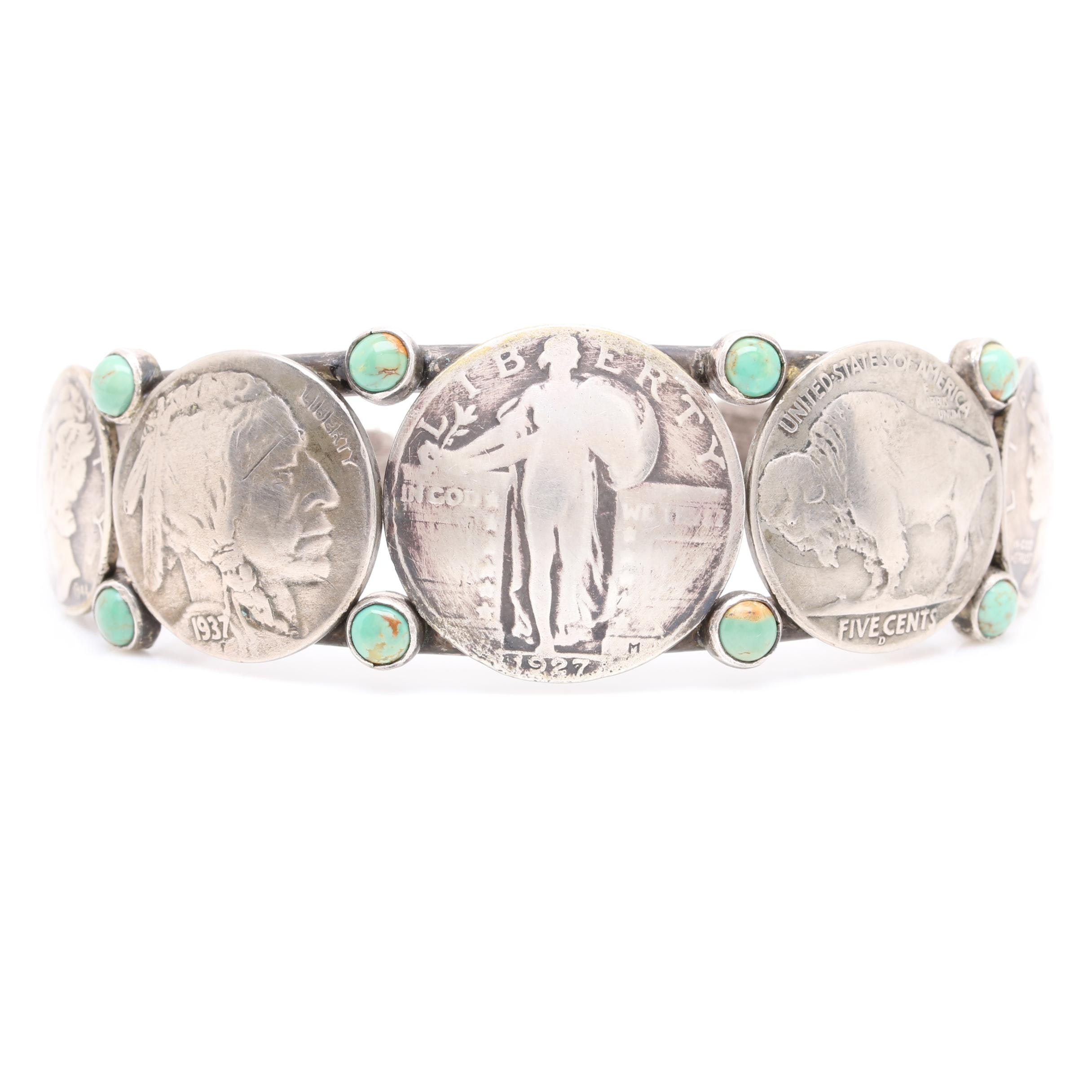 Southwestern Style Sterling Silver Turquoise U.S. Coin Cuff