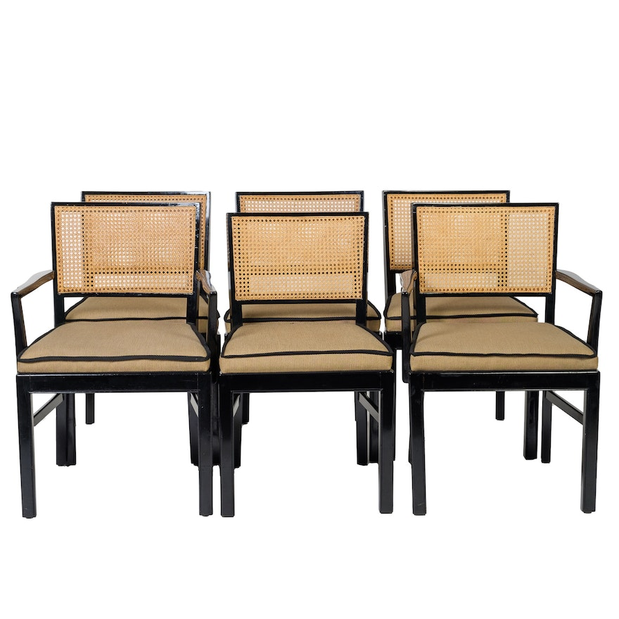Set of Black Lacquered Cane Back Dining Chairs | EBTH