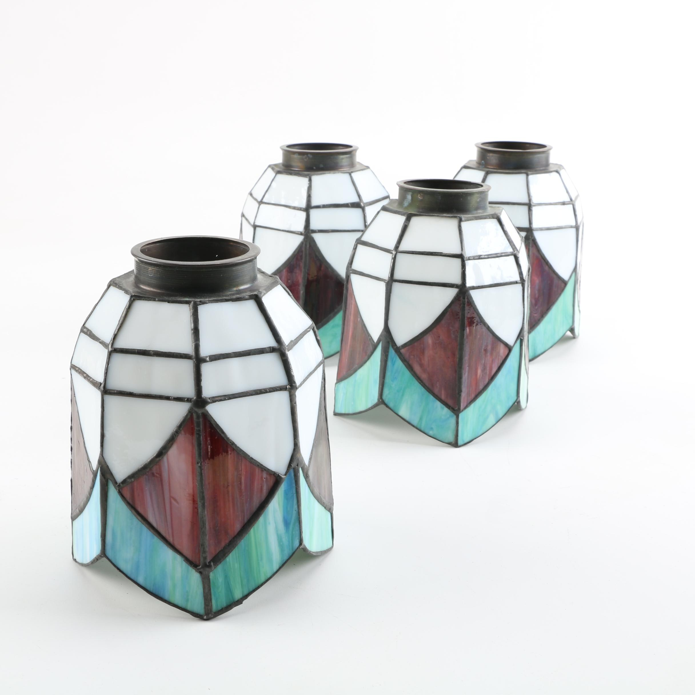Arts and Crafts Style Tulip Shaped Stained Glass Lamp Shades