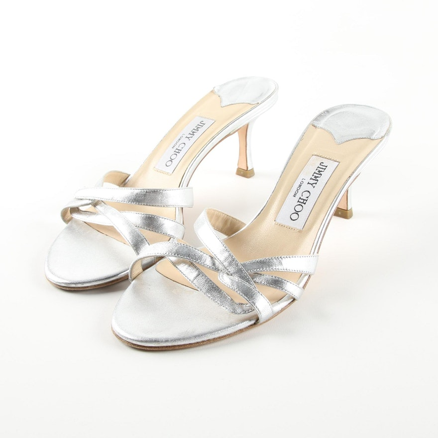 7dc8003a7e0 Jimmy Choo Silver Tone Leather High-Heeled Sandals   EBTH