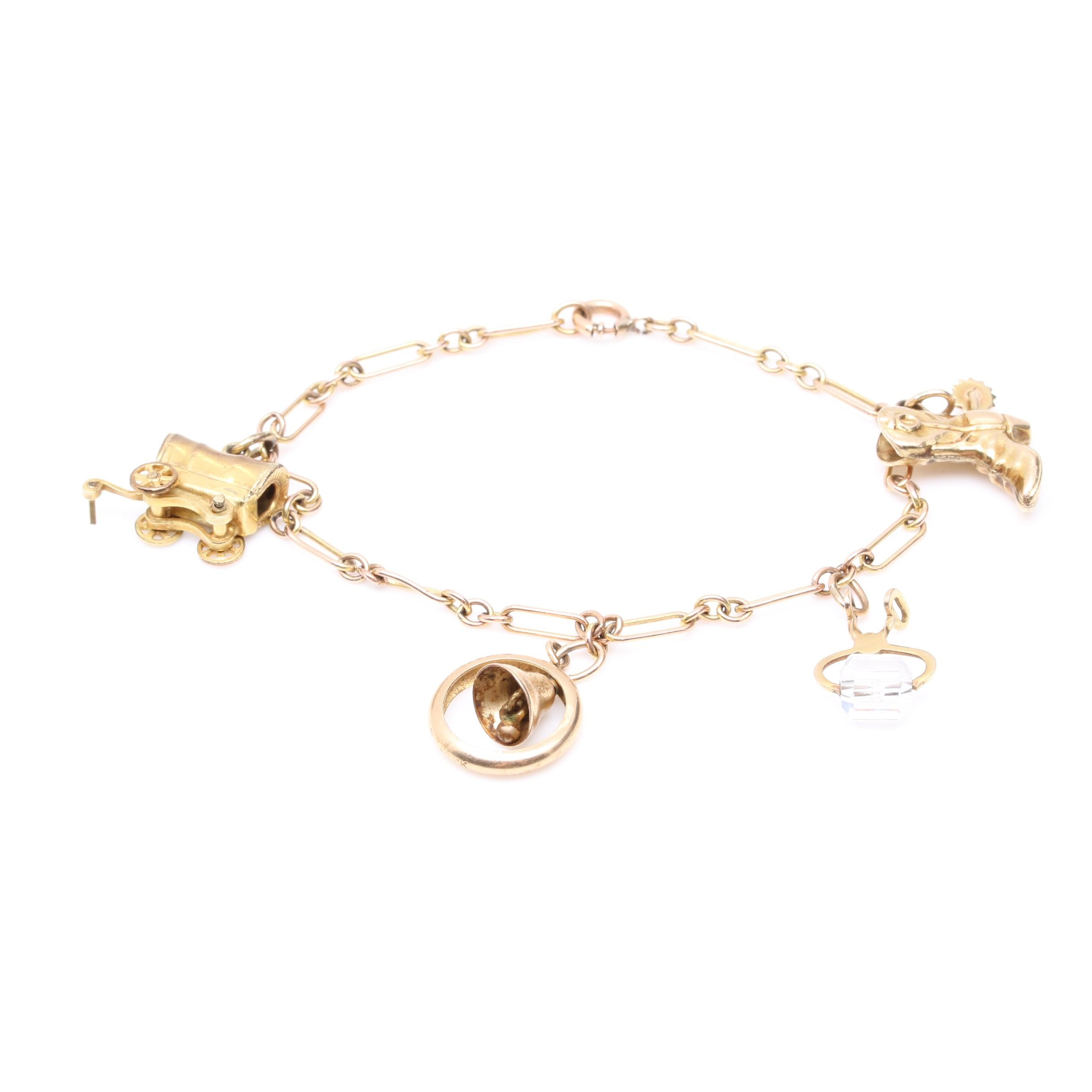 Charm Bracelet with 10K Yellow Gold Charms