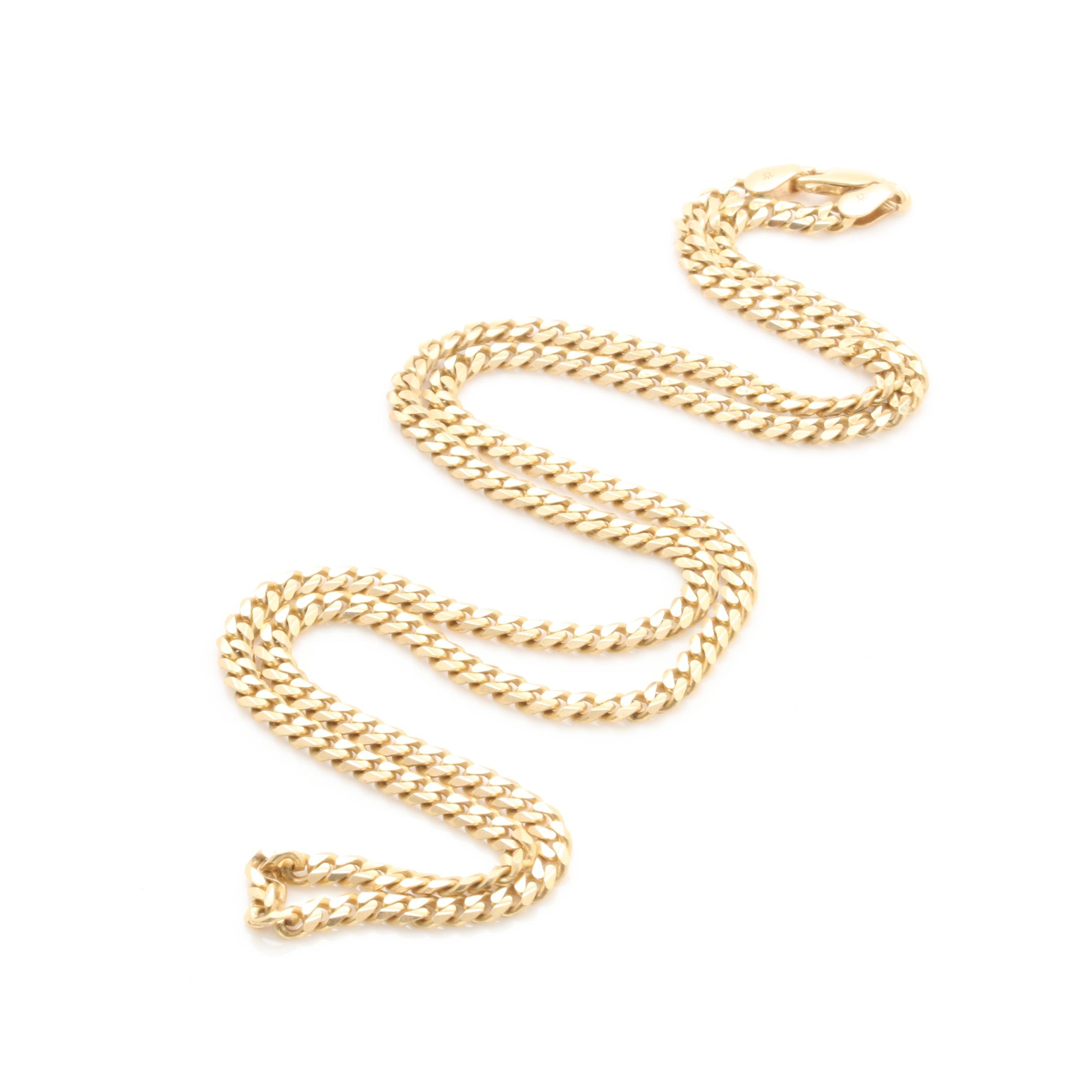Italian 14K Yellow Gold Curb Chain Necklace