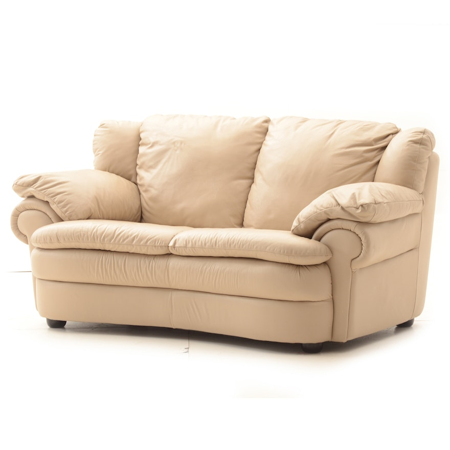 Brilliant Beige Faux Leather Loveseat Bralicious Painted Fabric Chair Ideas Braliciousco