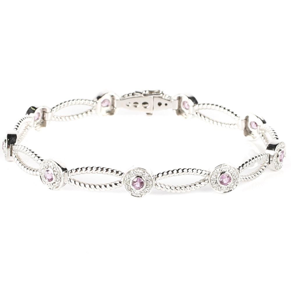 14K White Gold, Diamond, and 1.35 CTW Pink Sapphire Bracelet