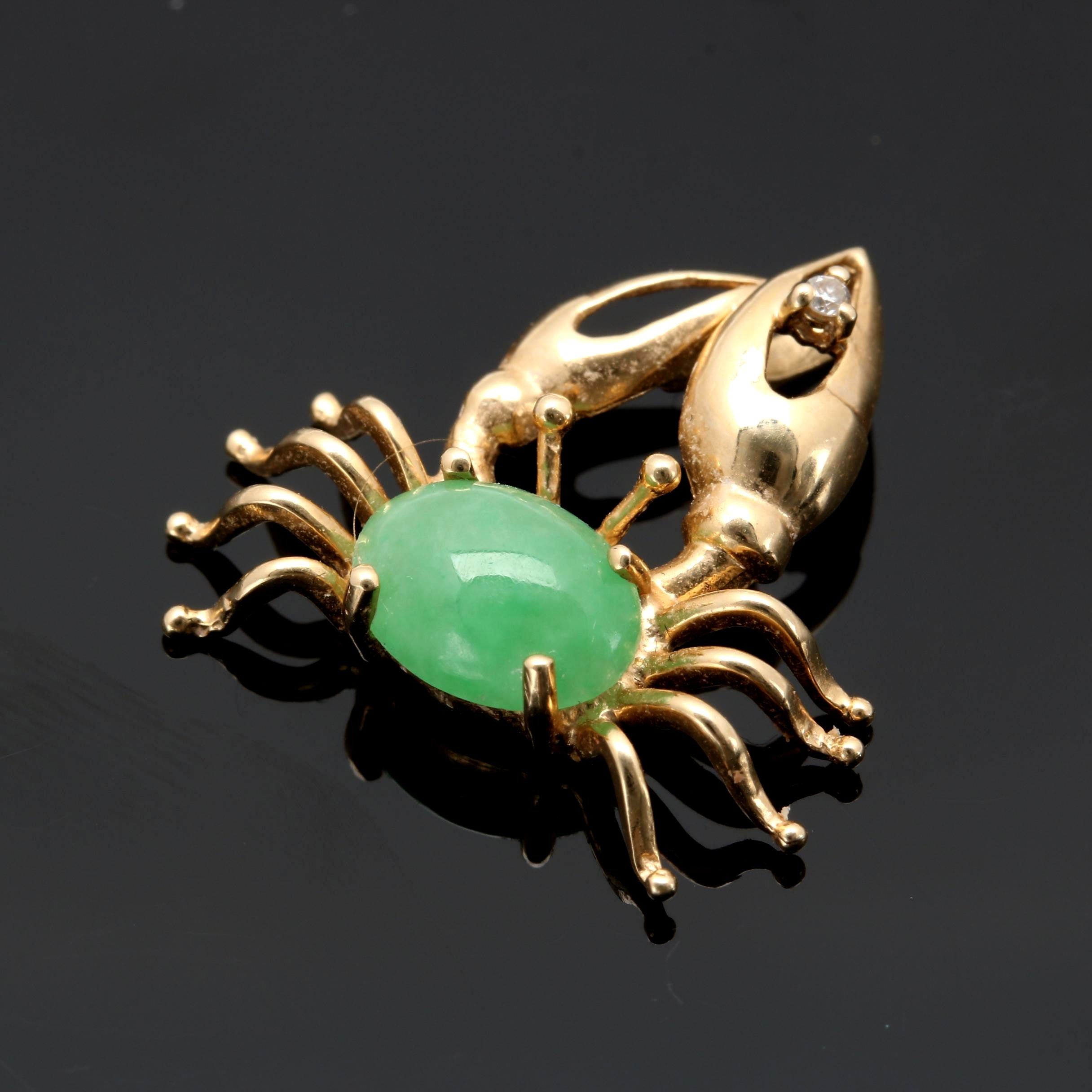 14k Yellow Gold Nephrite and Diamond Crab Pendant