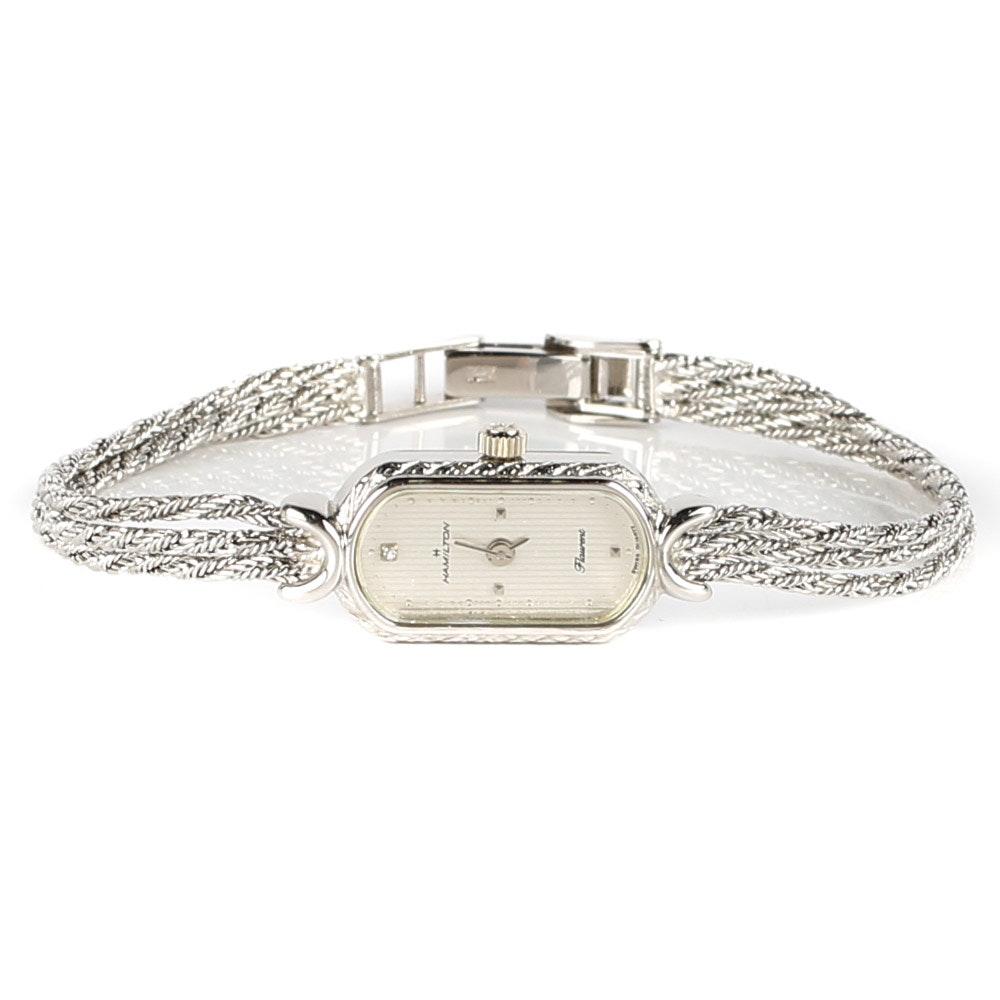 14K White Gold Hamilton Flaurent Wristwatch