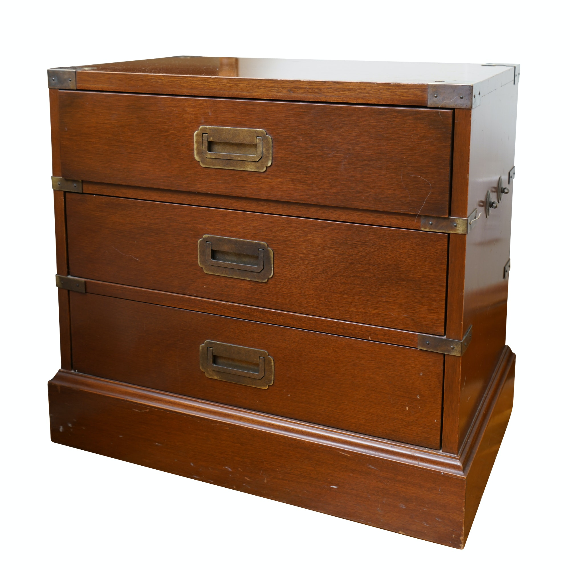 "Vintage Diminutive ""Campaign"" Style Walnut Chest of Drawers"