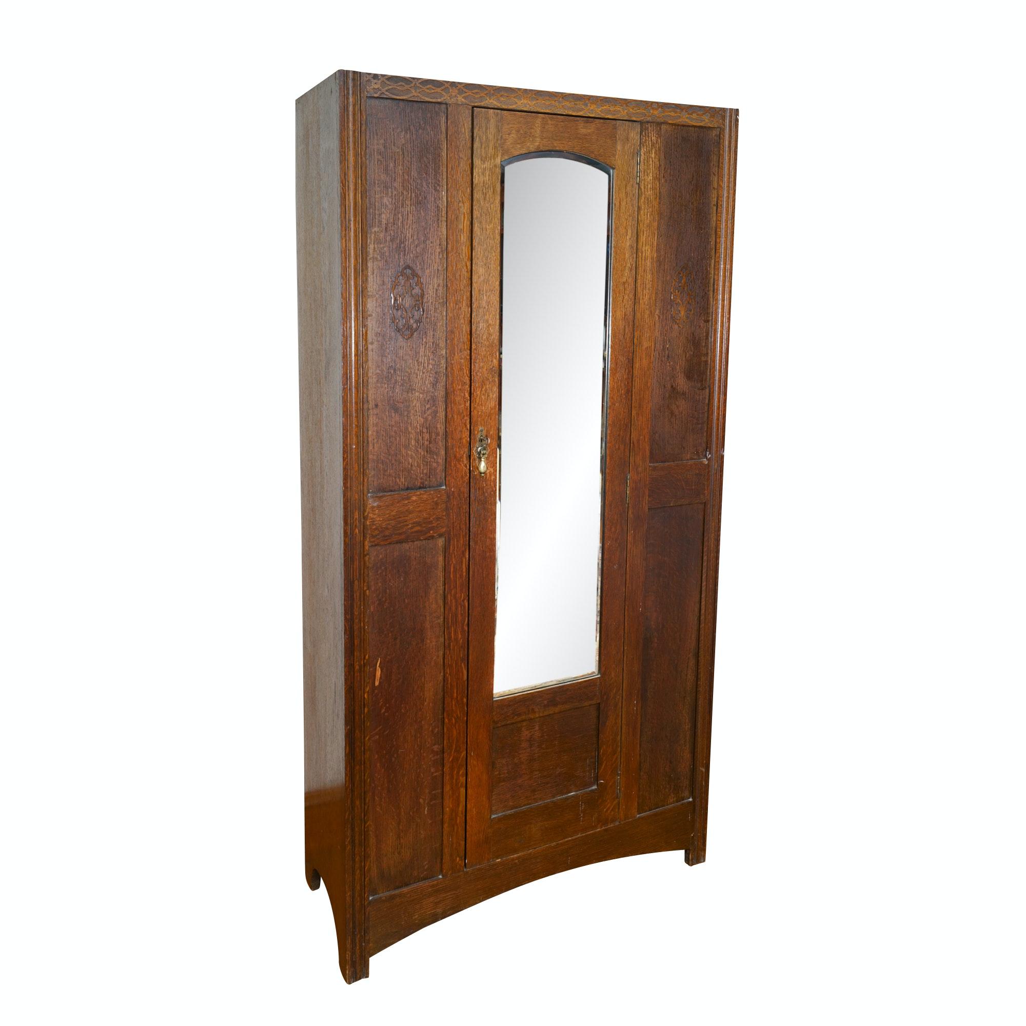 Vintage Oak Mirrored Armoire