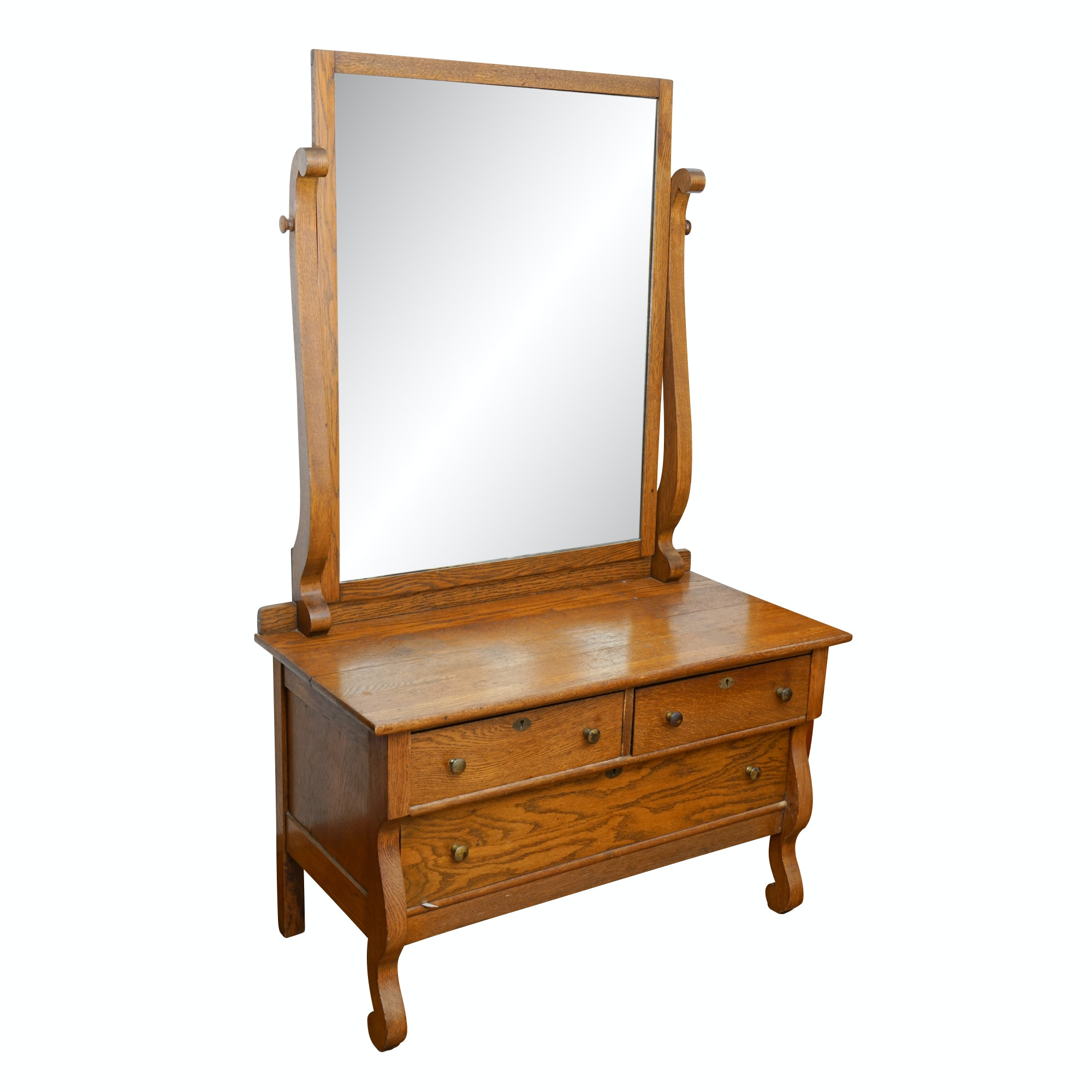 Vintage Oak Empire Revival Dresser with Mirror by Toccoa Furniture