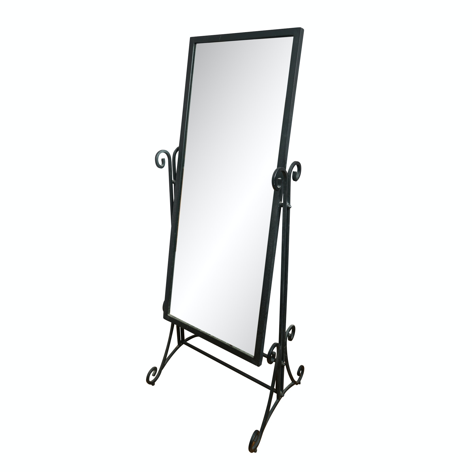 Standing Metal Floor Mirror with Scrolled Accents