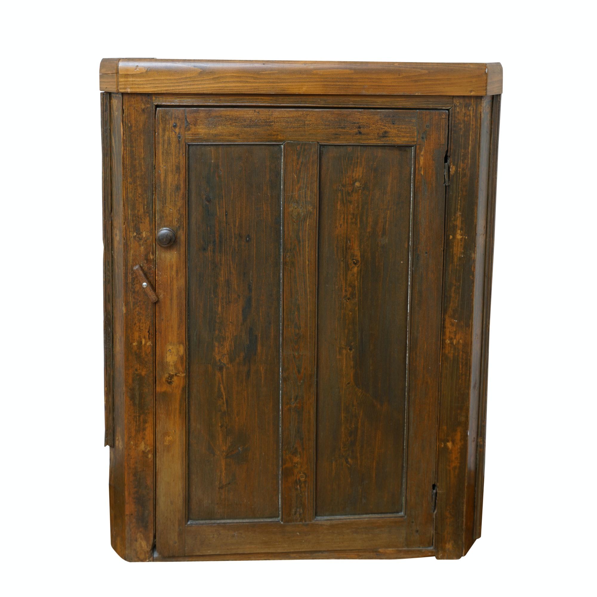 Antique Rustic Corner Cabinet