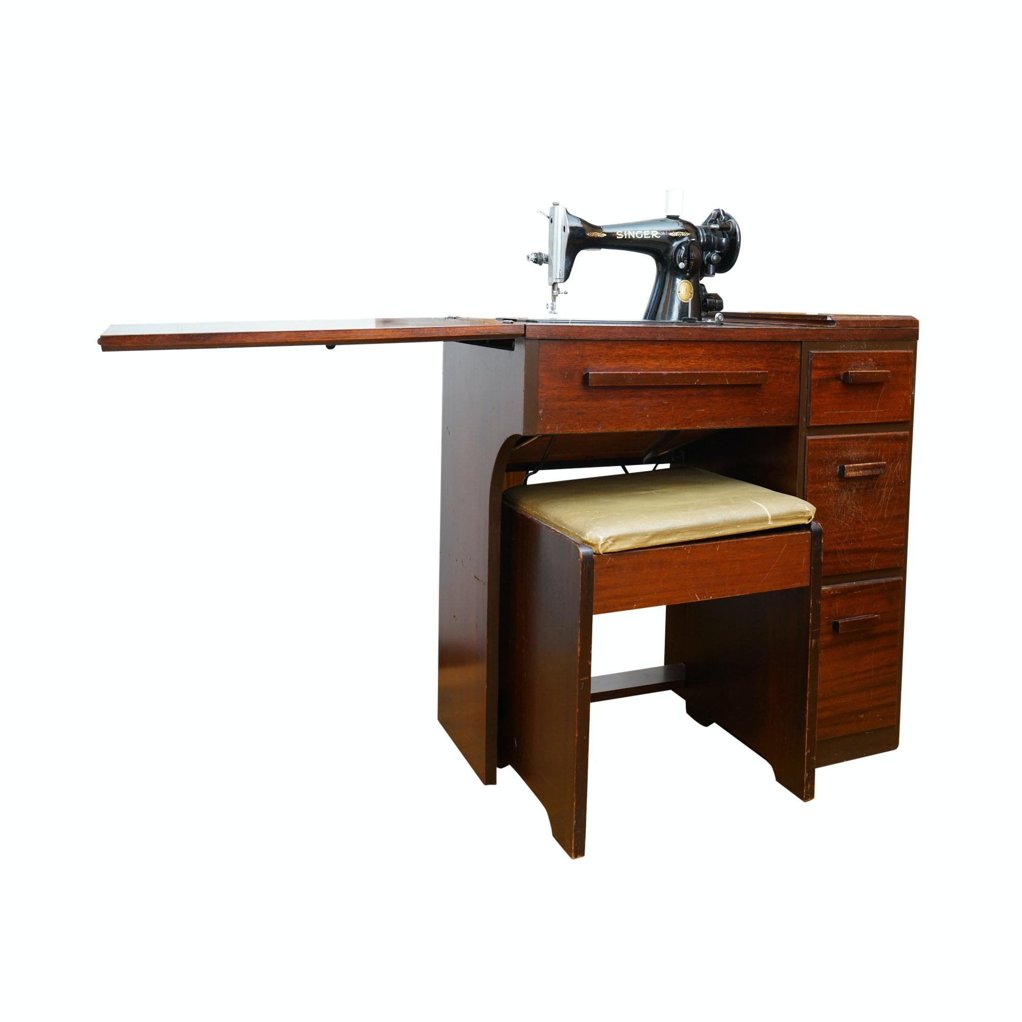 Vintage Singer Sewing Machine and Mahogany Desk ca. 1948-54