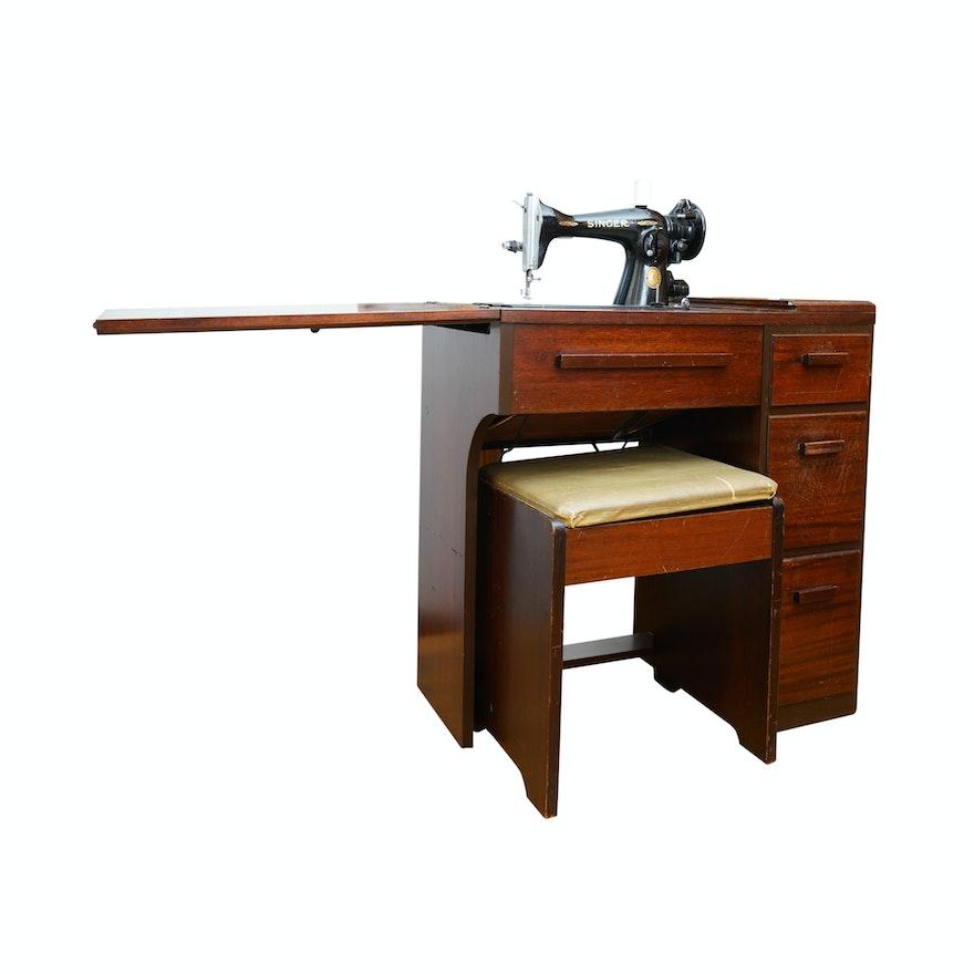 Vintage Singer Sewing Machine and Mahogany Desk ca  1948-54