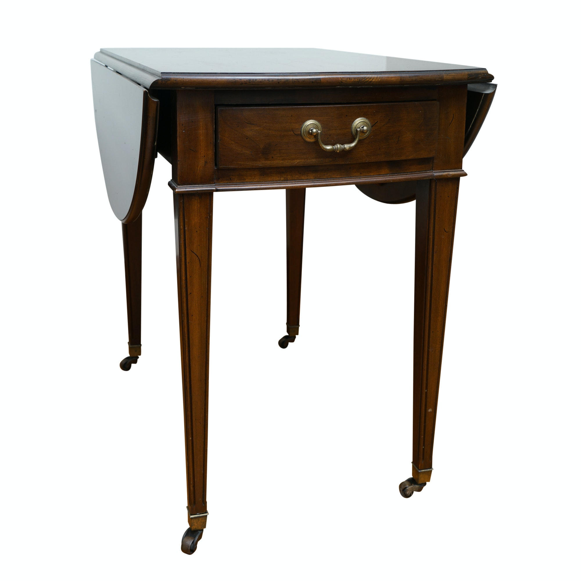 Vintage Walnut Drop-Leaf Side Table on Casters by Ethan Allen