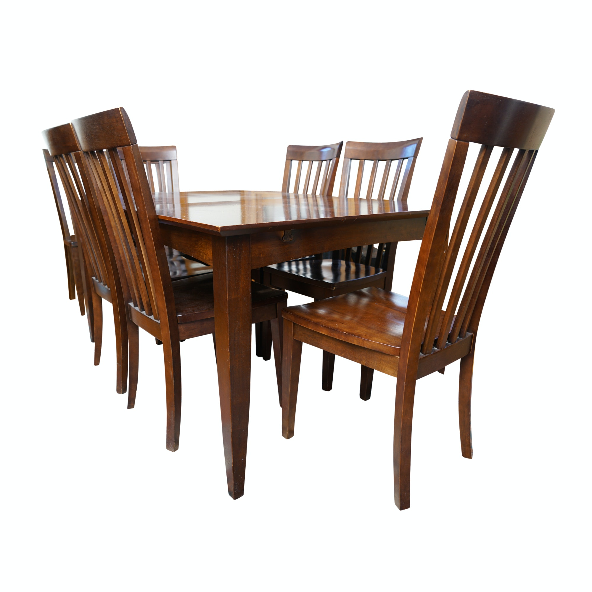 Contemporary Parquetry Extension Dining Table with Side Chairs