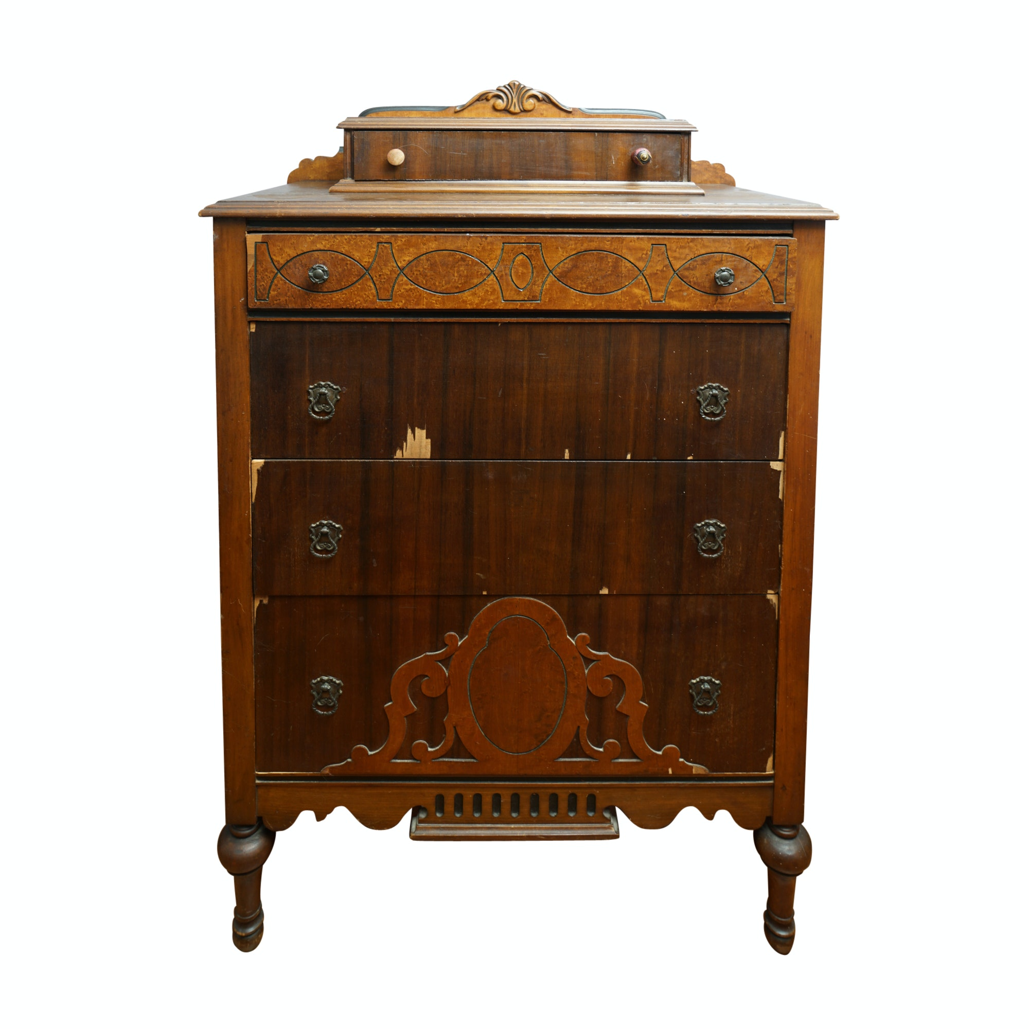 Victorian Walnut and Mahogany Tiered Chest of Drawers