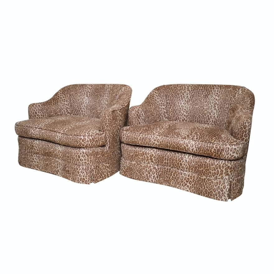 Pair of Oversize Leopard Print Tub Chairs : EBTH