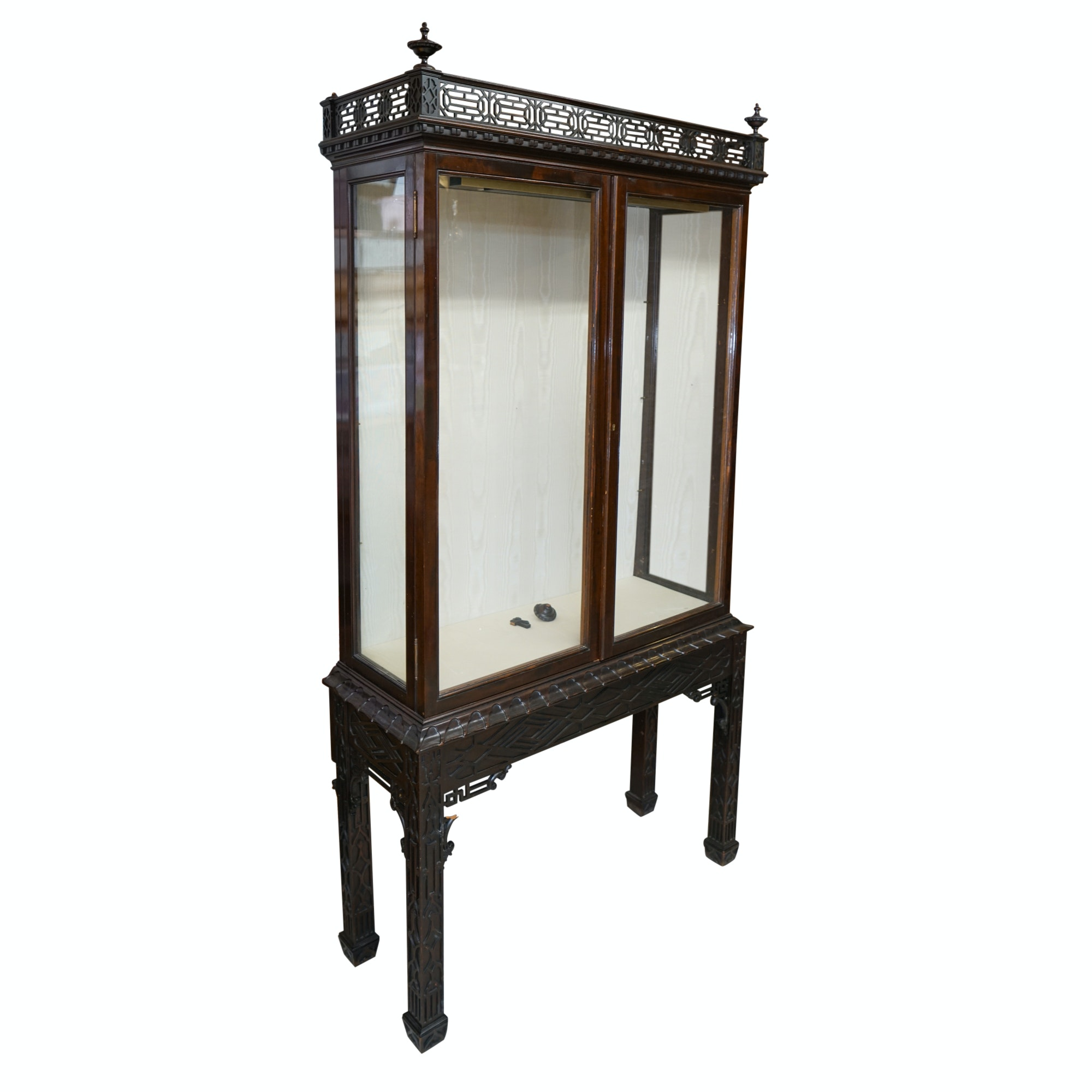 Vintage Chinese Inspired Carved Wood Display Cabinet