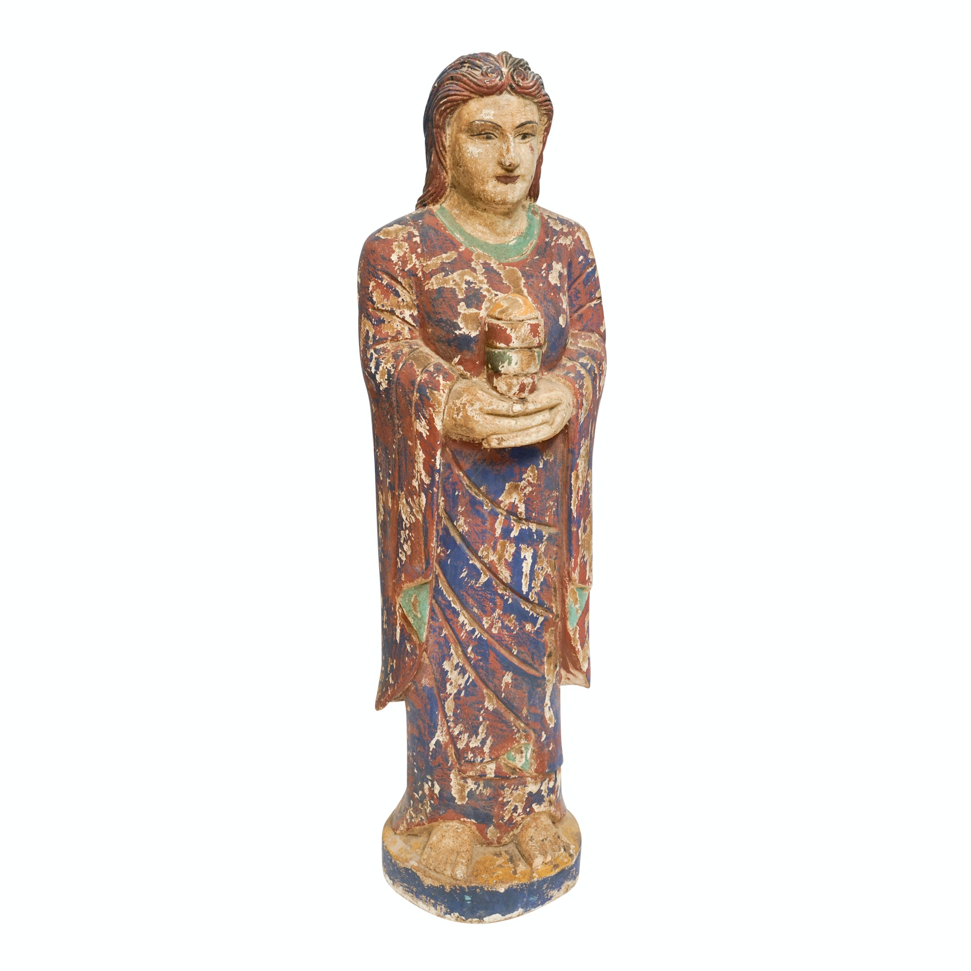 Reproduction Santos Carved and Painted Wood Statue