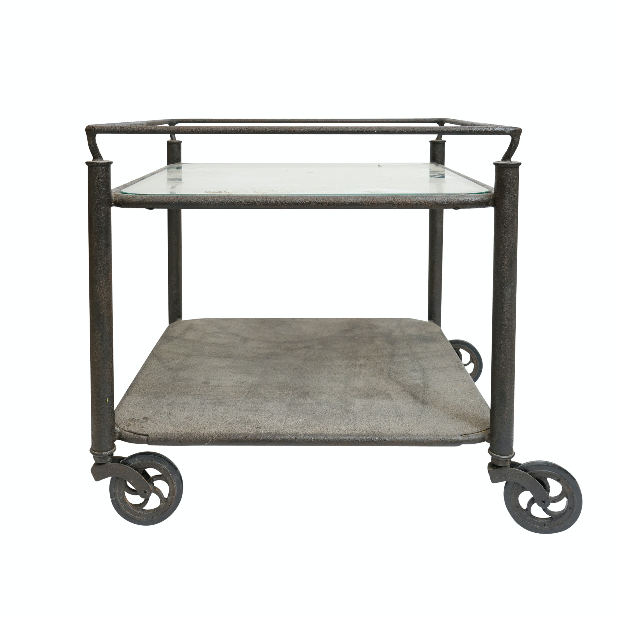 Industrial Style Metal Cart Side Table with Glass Top
