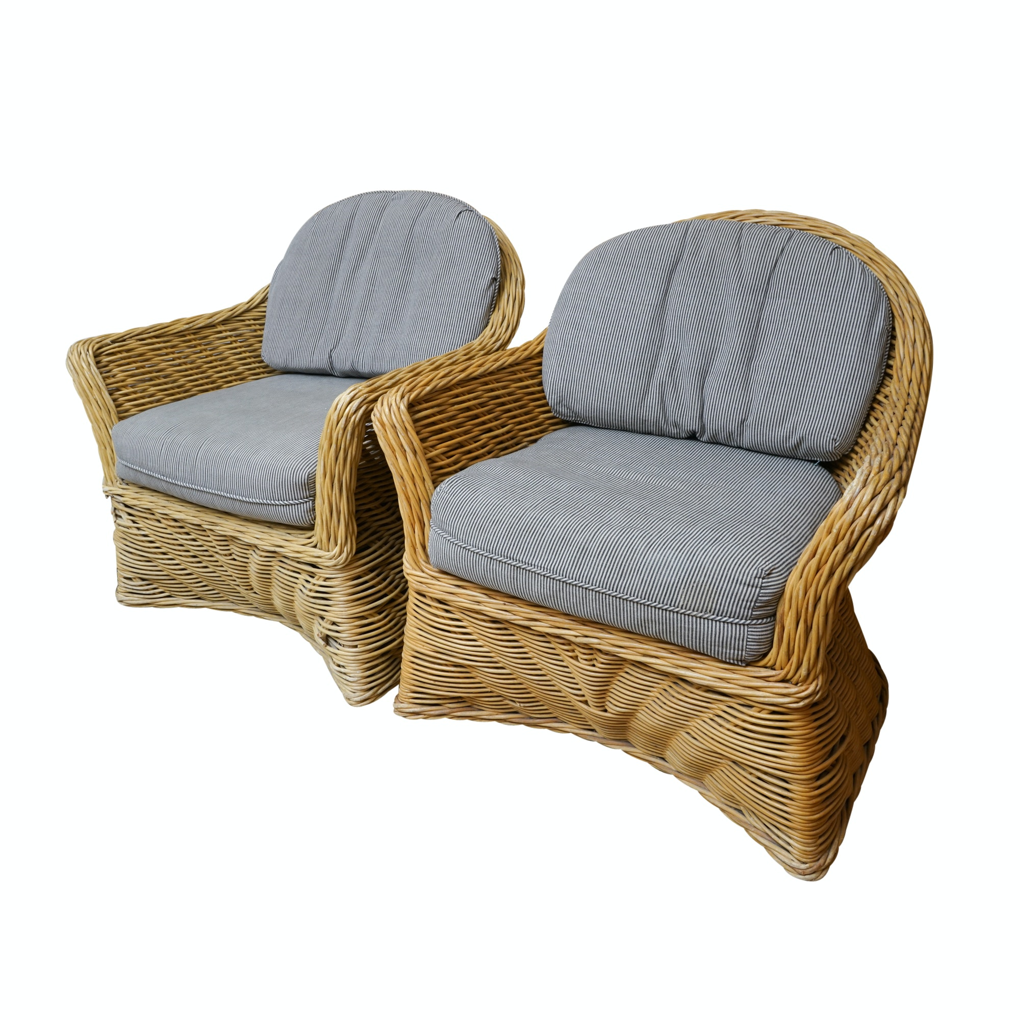 Pair of Curved Back Wicker Chairs