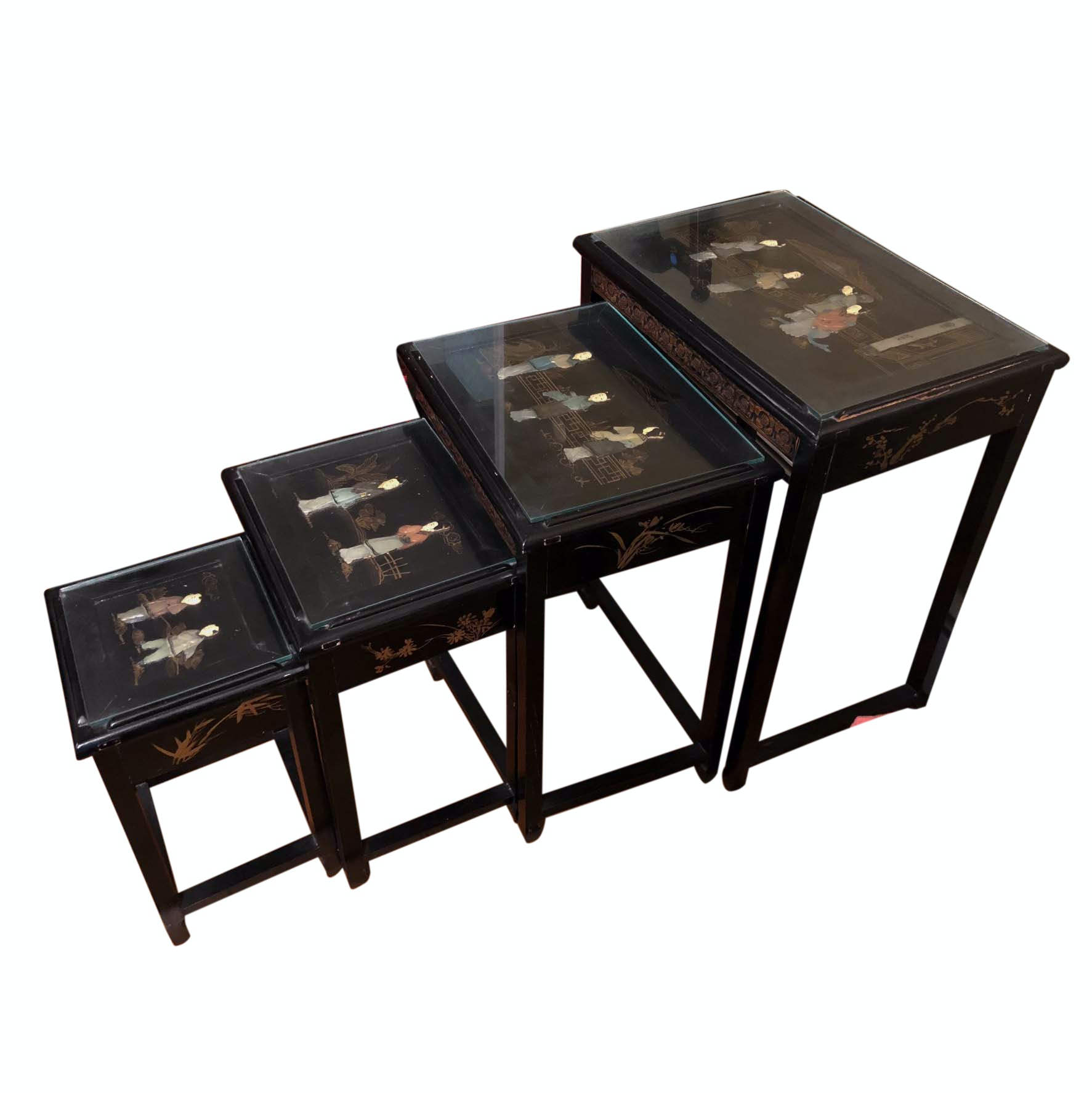 Vintage Chinese Carved and Inlaid Nesting Tables