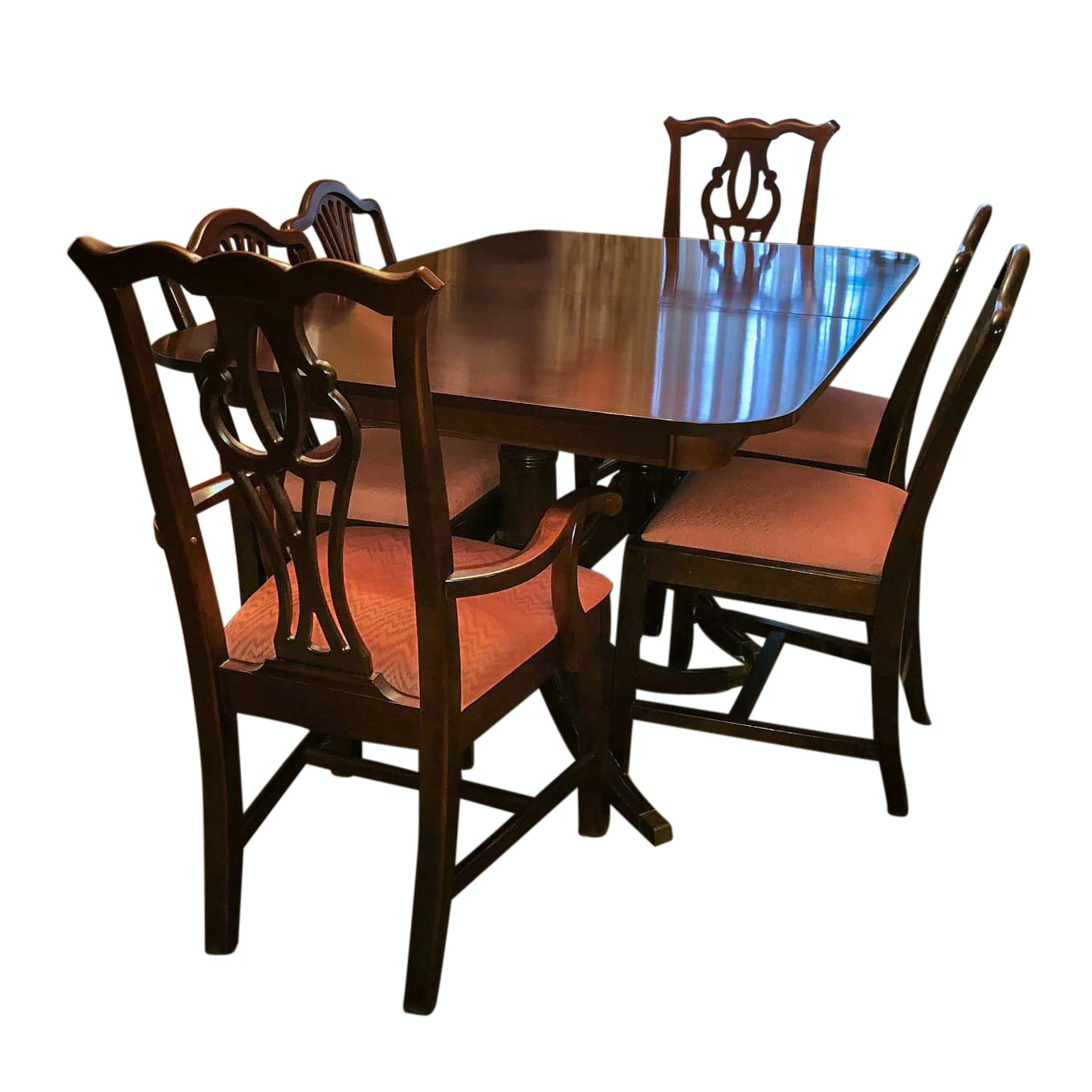 Vintage Chippendale Style Mahogany Dining Table and Chairs Including Thomasville
