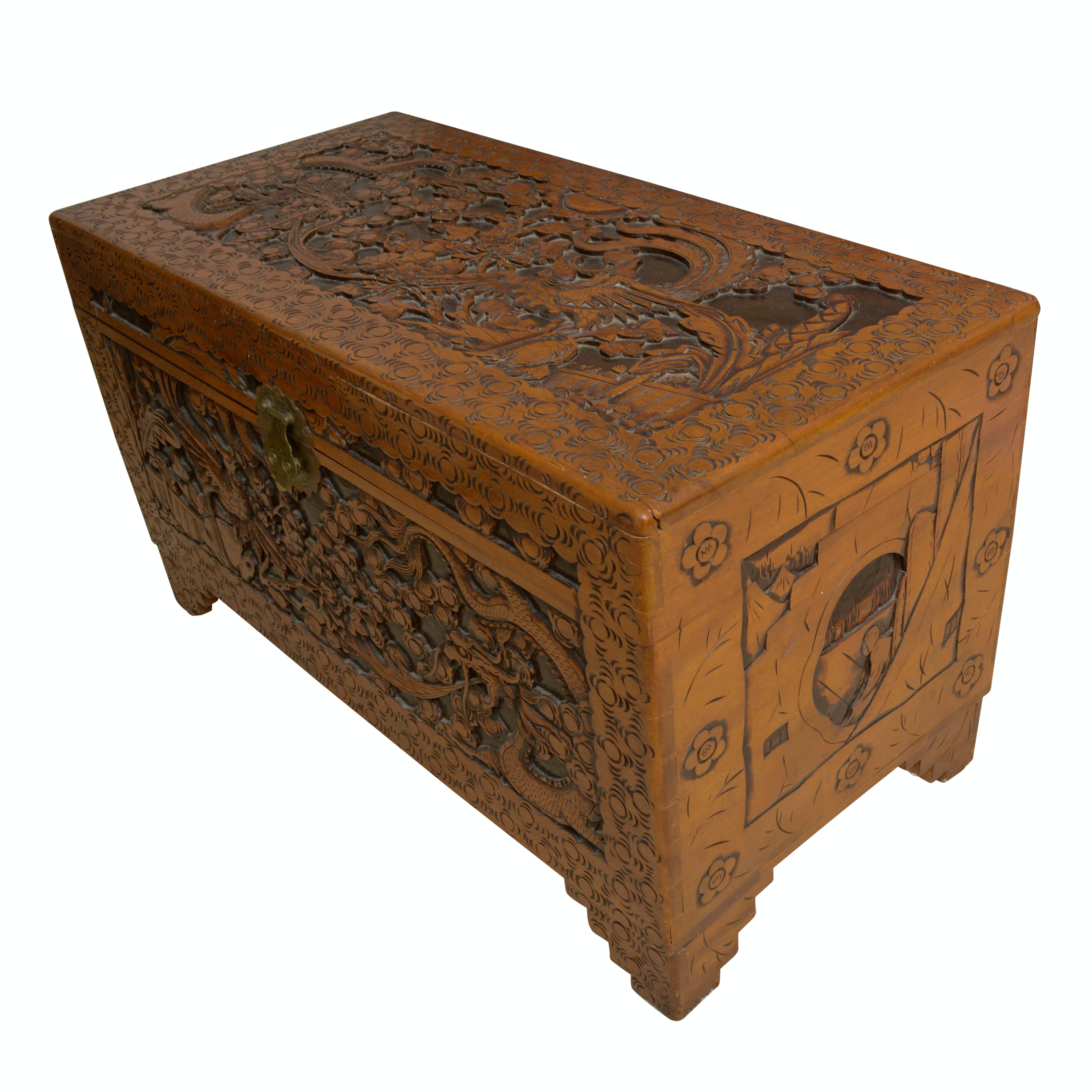 Vintage Chinese Carved Wood Chest